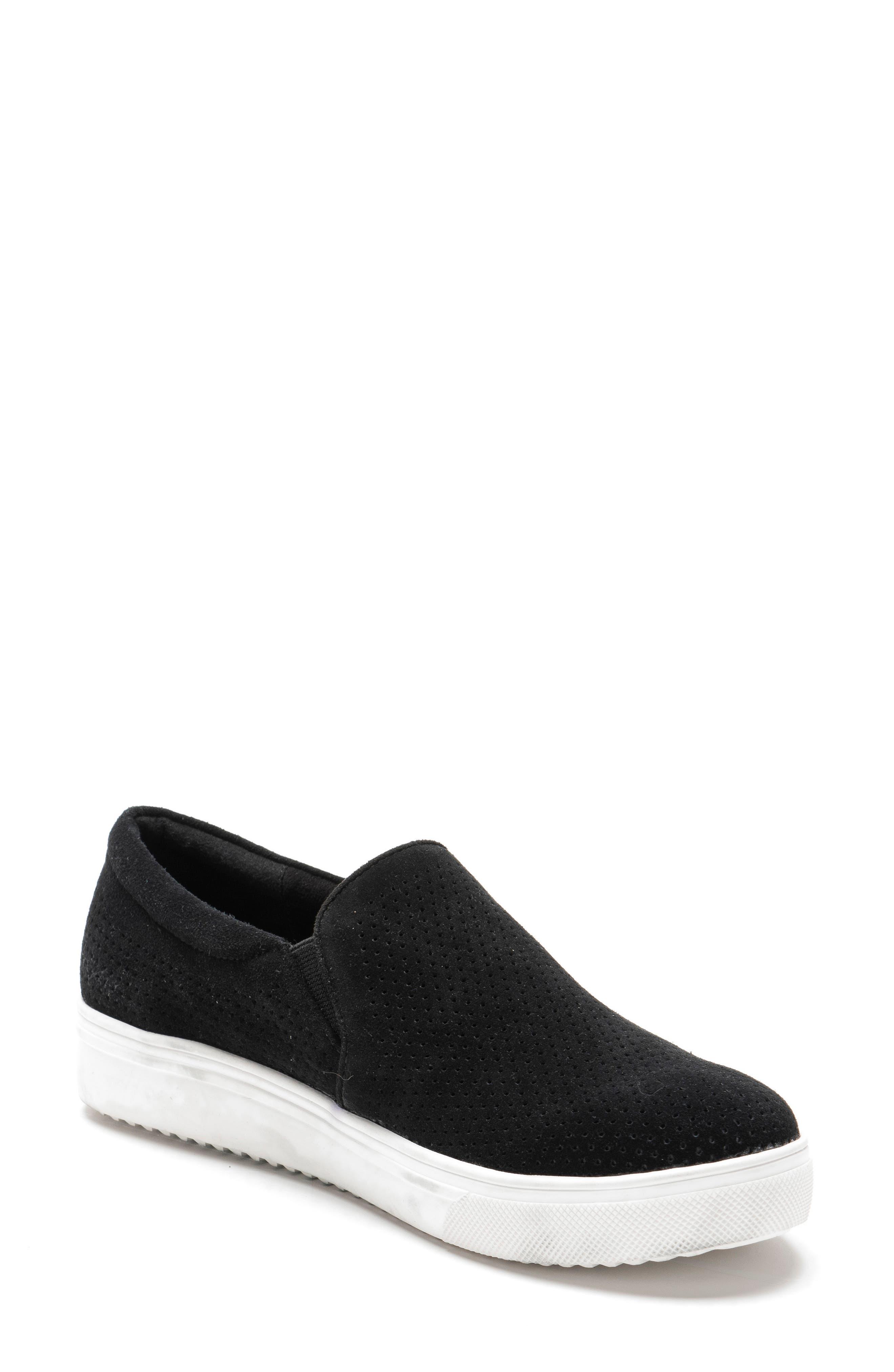 Gallert Perforated Waterproof Platform Sneaker,                             Main thumbnail 1, color,                             BLACK SUEDE