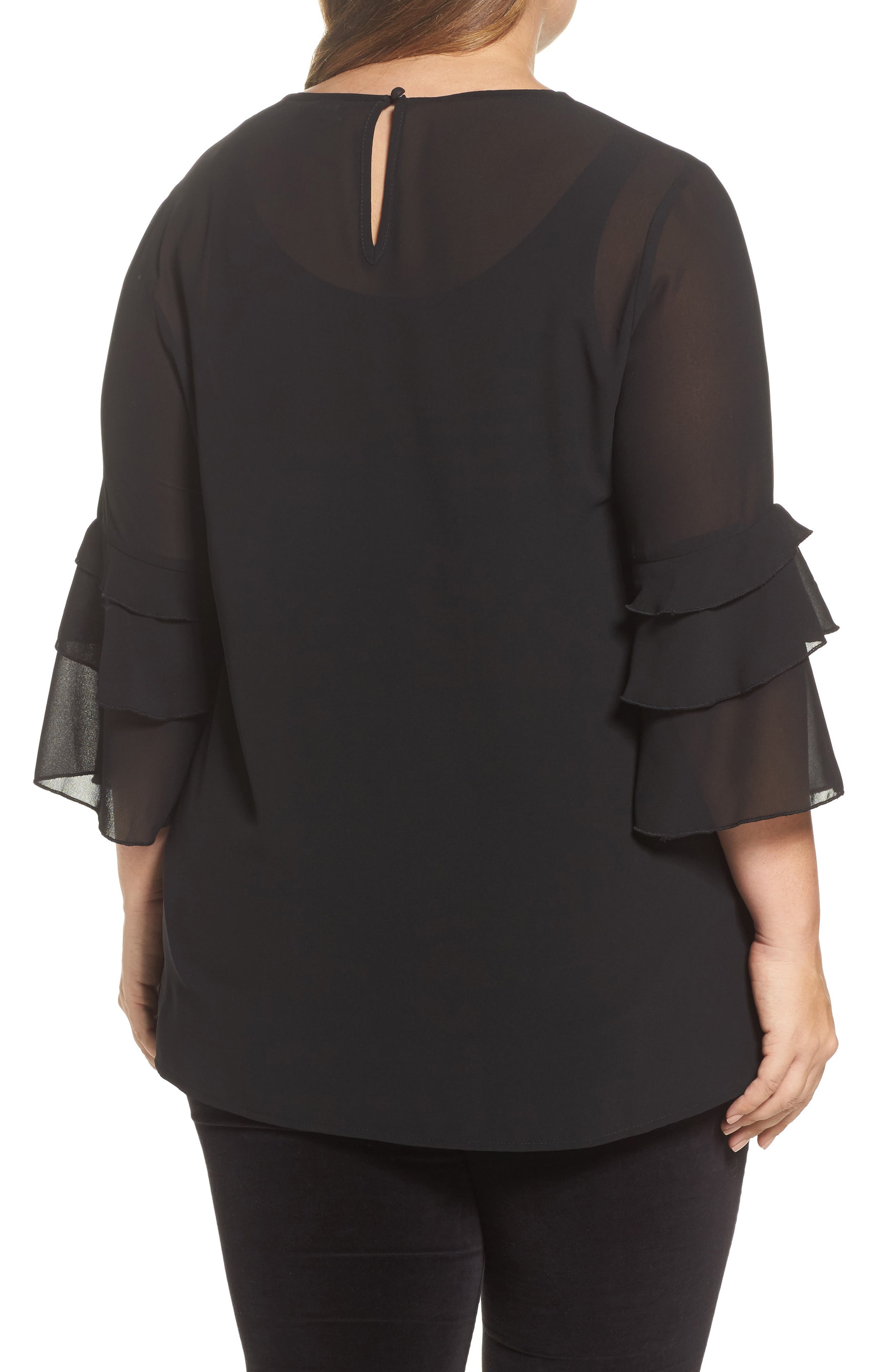 Ruffle Sleeve Blouse,                             Alternate thumbnail 3, color,