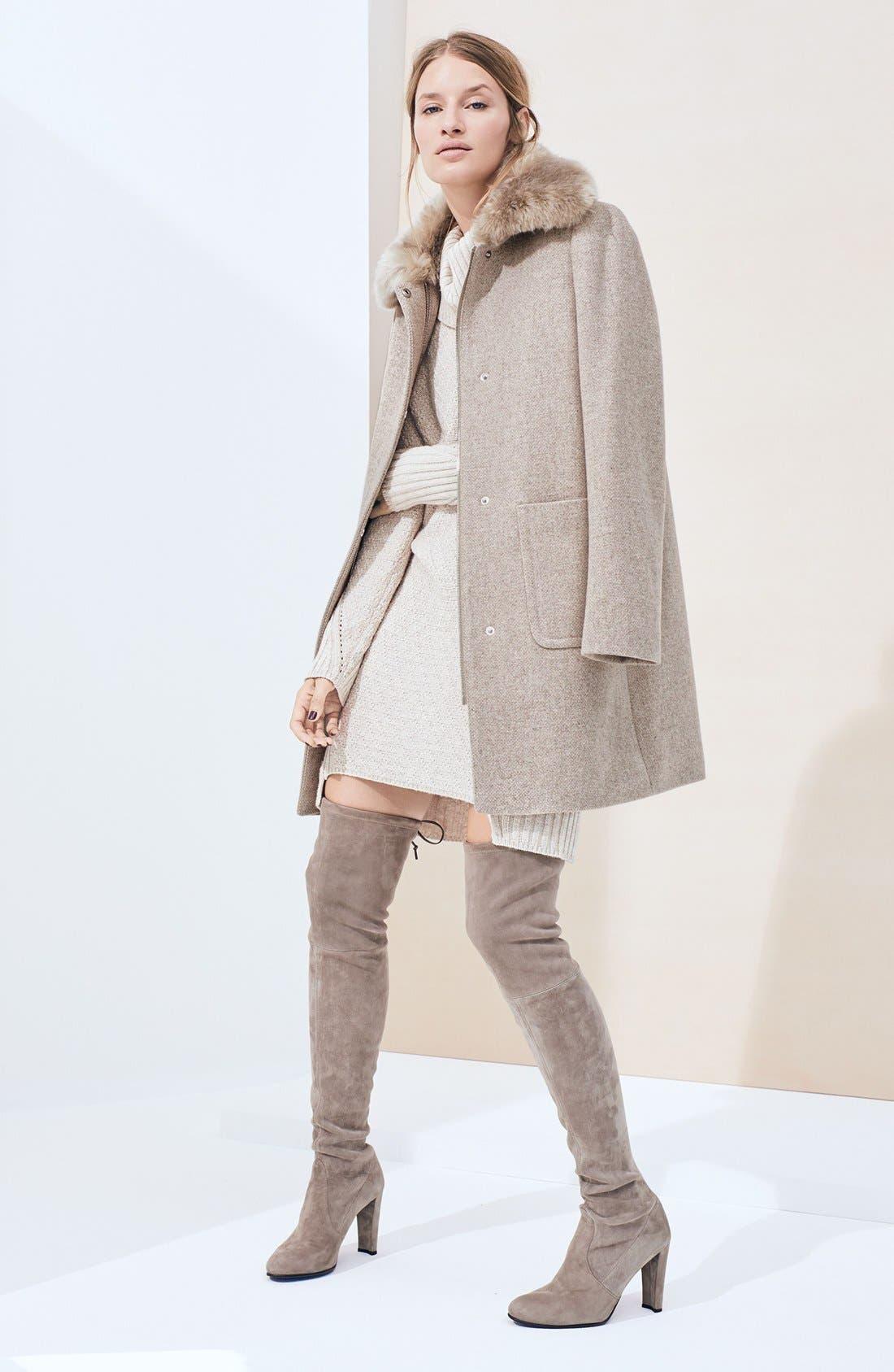 LAUREN RALPH LAUREN,                             Wool Blend Coat with Faux Fur Collar,                             Alternate thumbnail 2, color,                             068