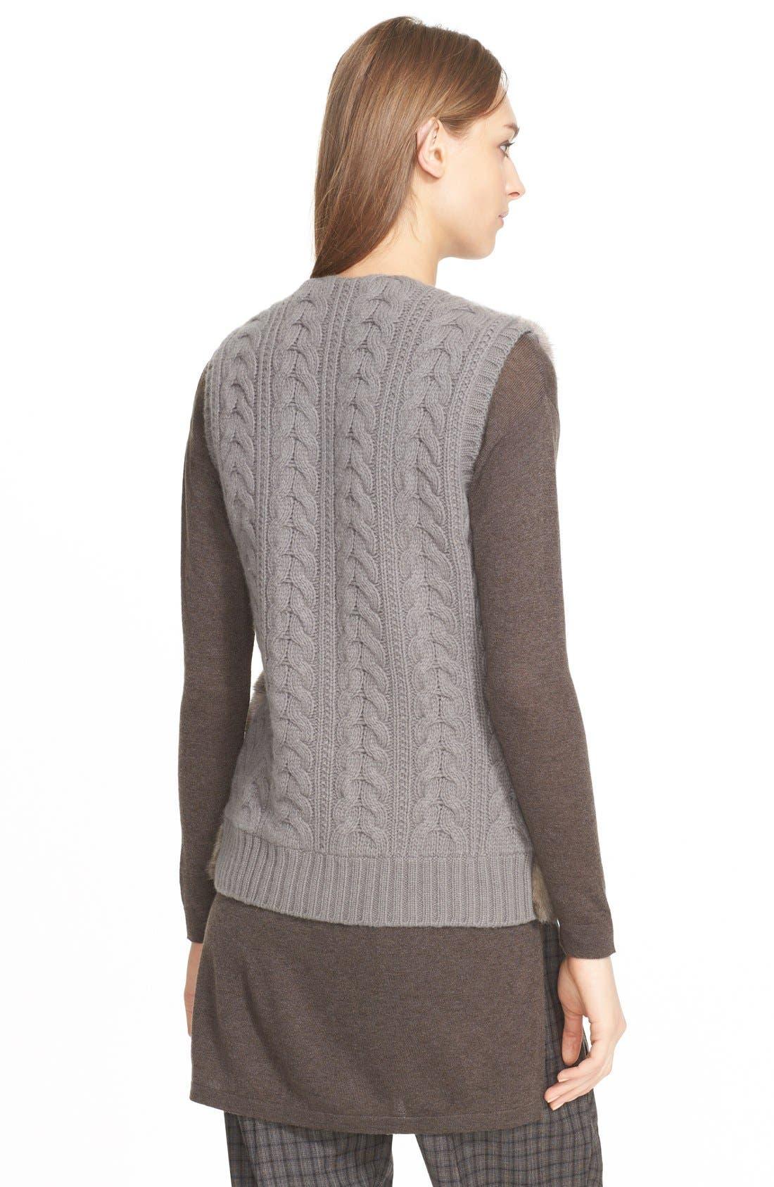 Genuine Mink Fur Vest with Cable Knit Back,                             Alternate thumbnail 4, color,                             078