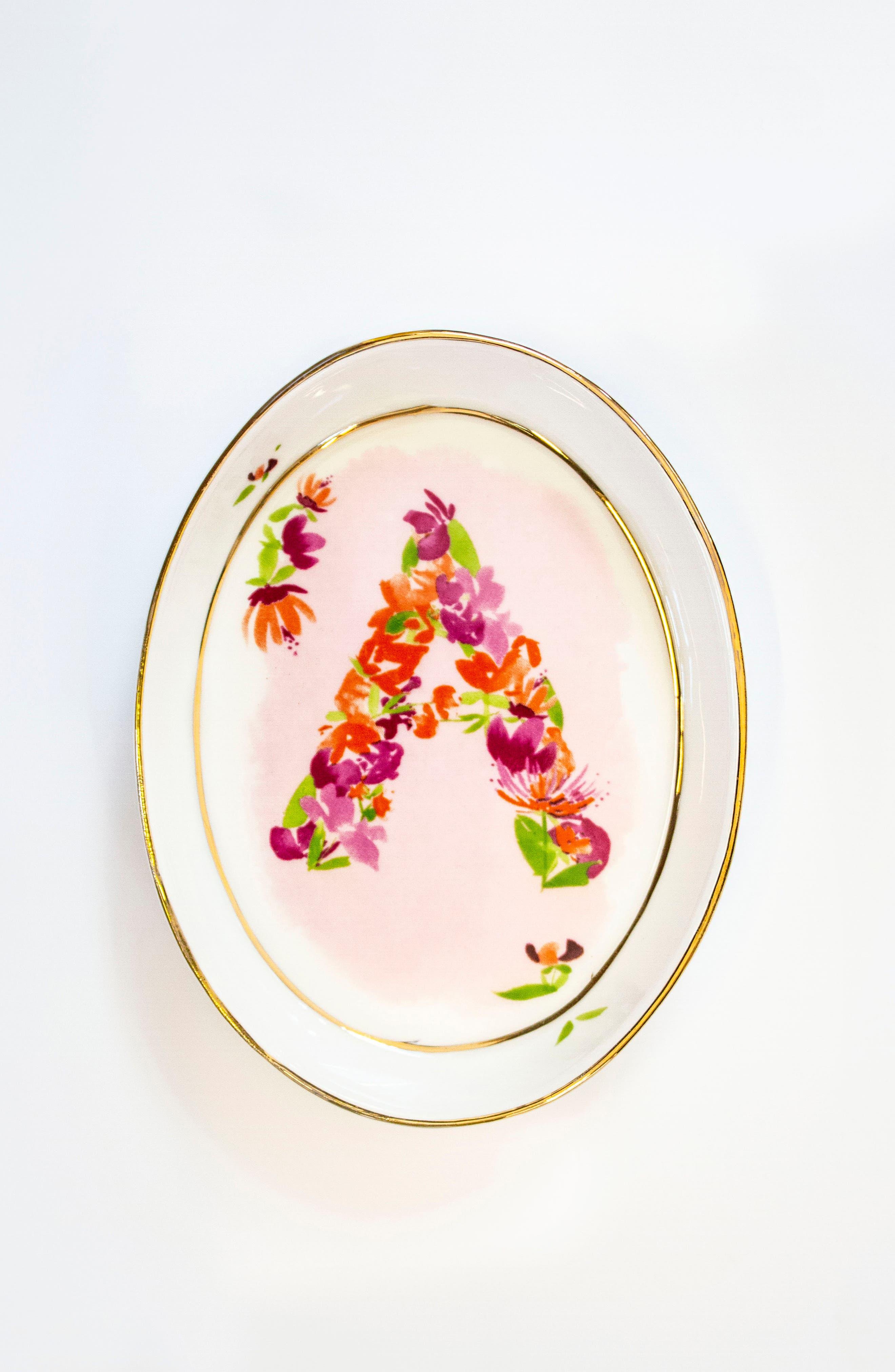ANTHROPOLOGIE,                             Kiana Mosley Monogram Trinket Dish,                             Alternate thumbnail 2, color,                             100