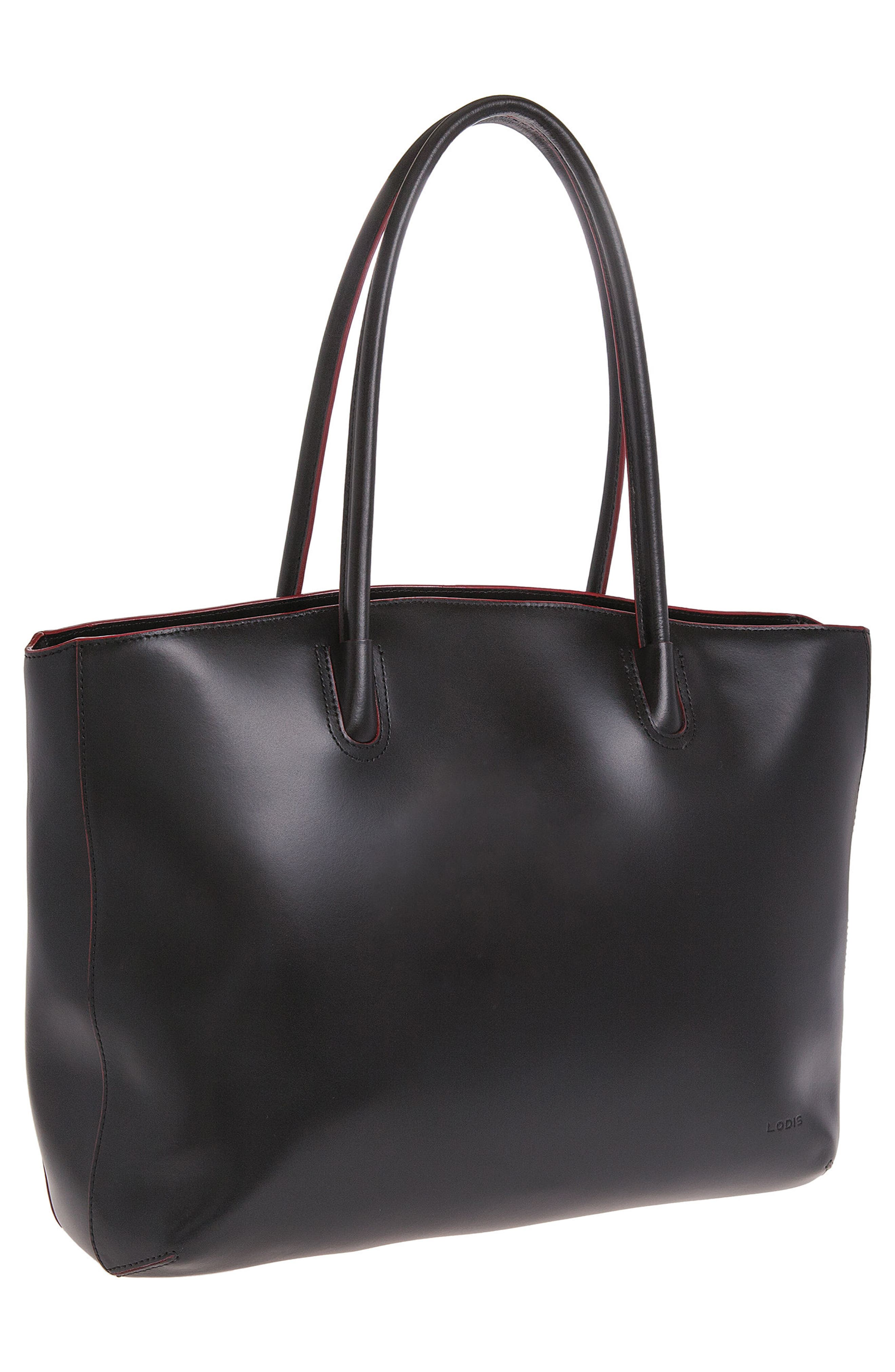Lodis 'Audrey - Milano' Leather Computer Tote,                             Alternate thumbnail 4, color,                             001