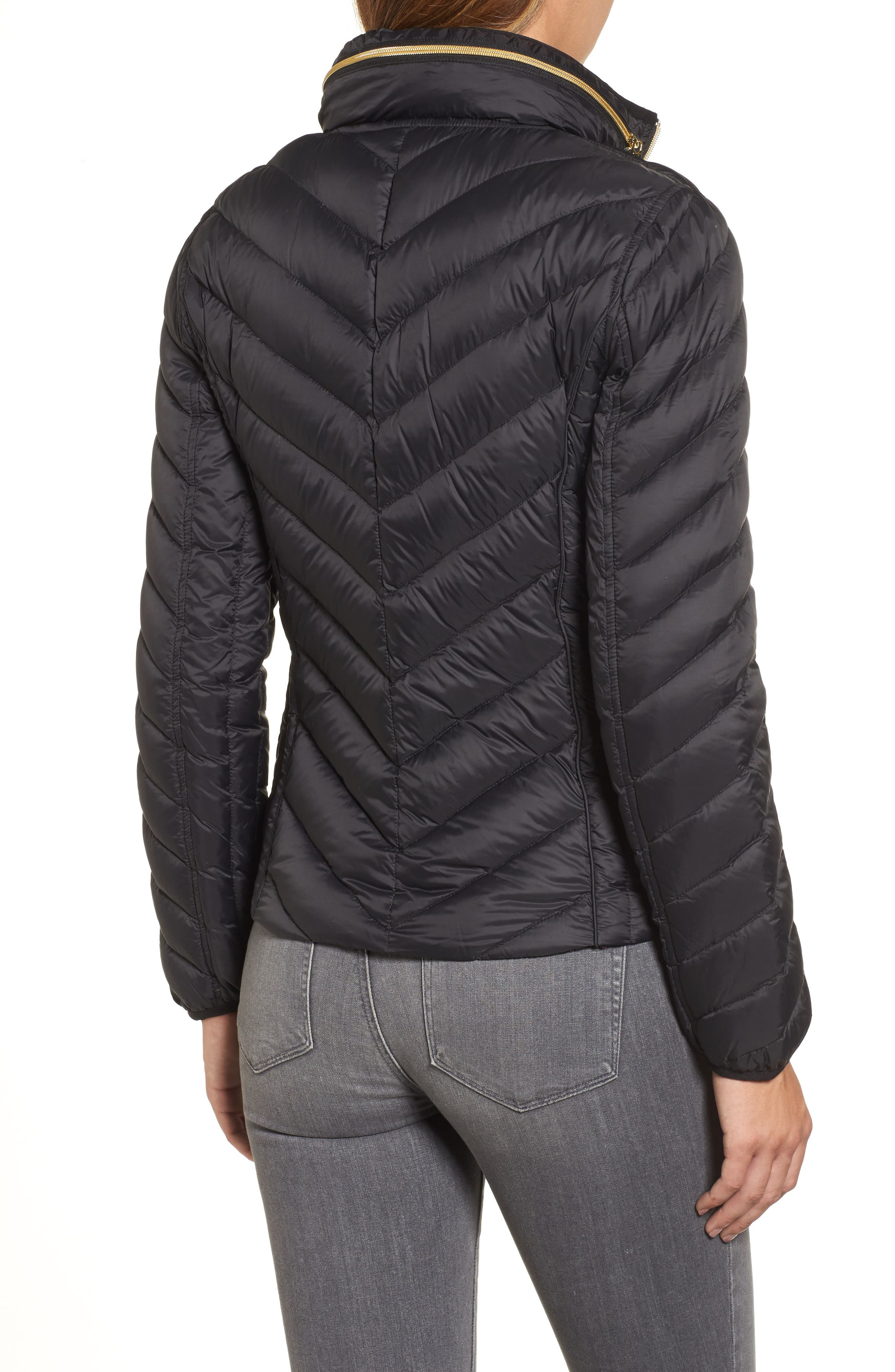 Chevron Quilted Packable Down Puffer Jacket with Stowaway Hood,                             Alternate thumbnail 2, color,                             001