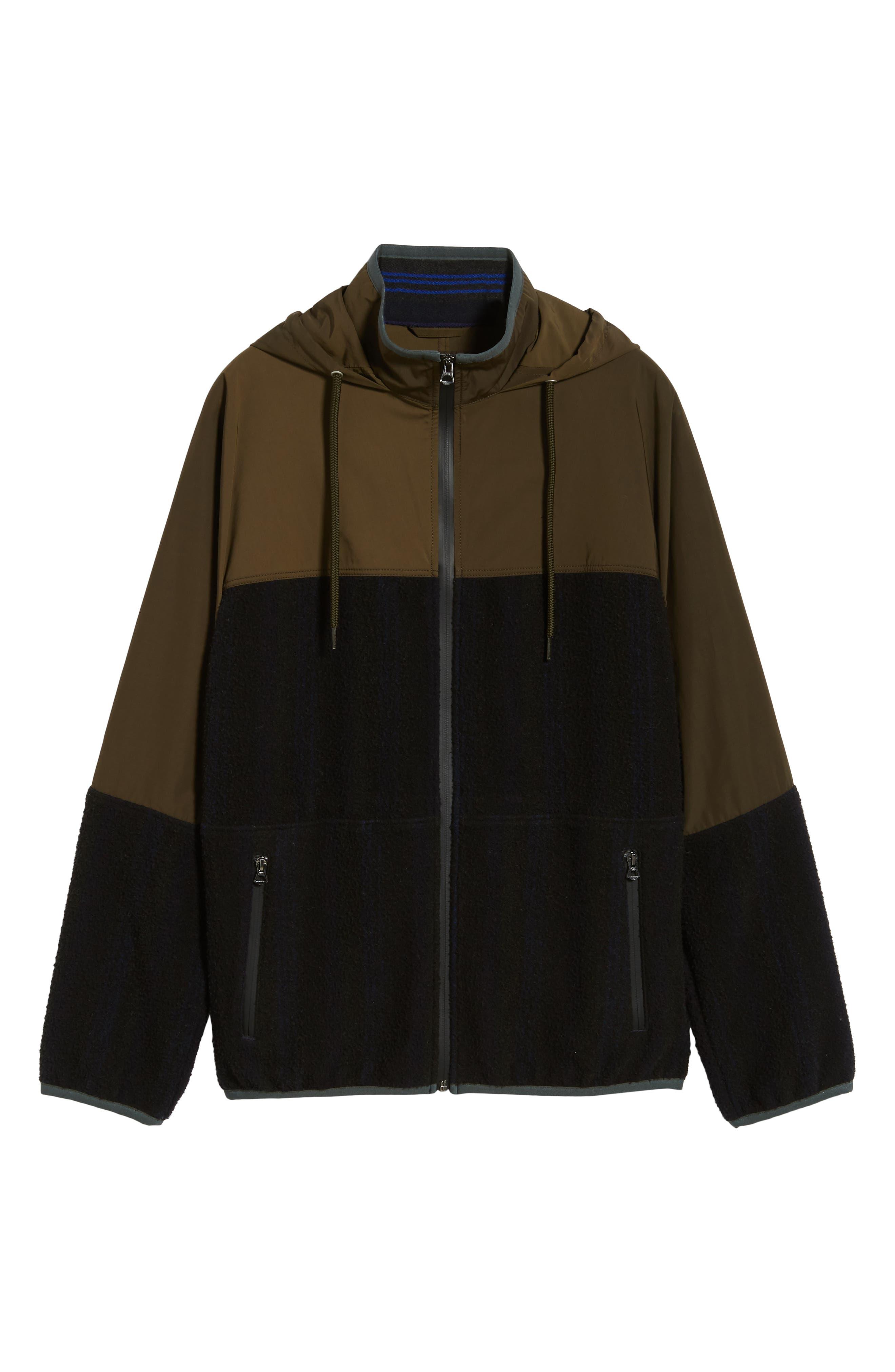 Mixed Media Hooded Jacket,                             Alternate thumbnail 5, color,                             FATIGUE