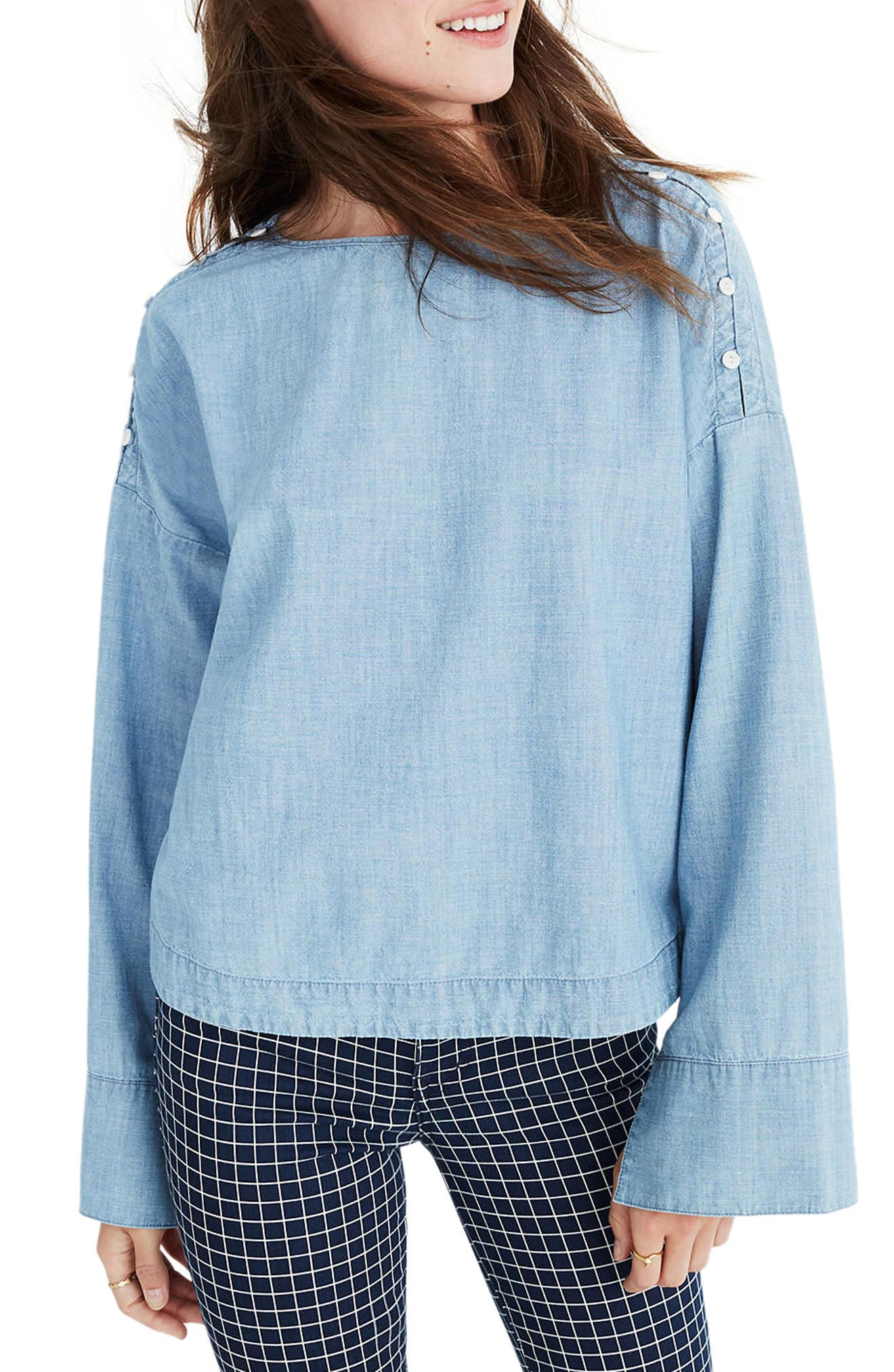 Convertible Shoulder Chambray Top,                             Main thumbnail 1, color,                             417