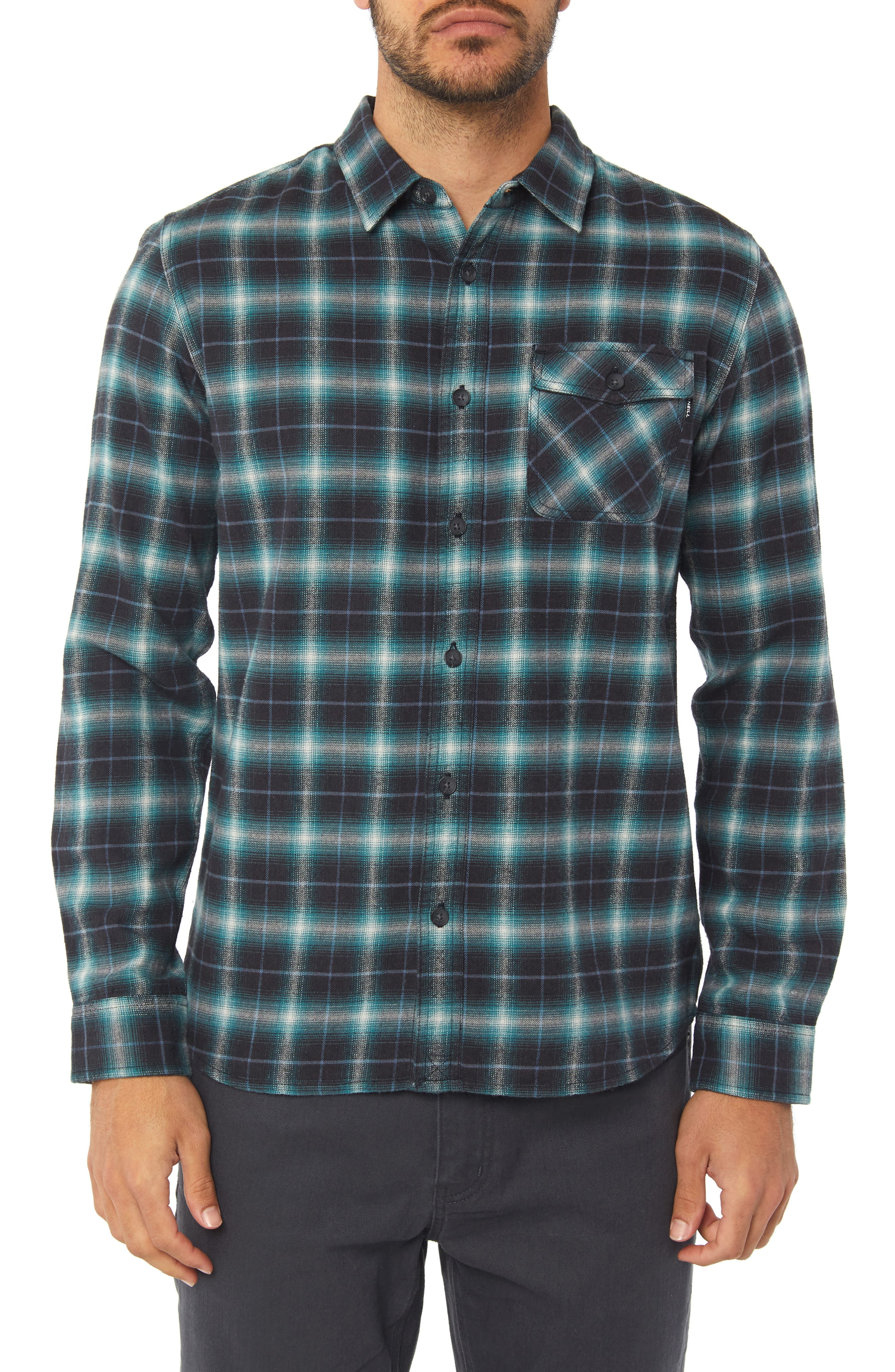 Graham Shadow Check Flannel Shirt,                         Main,                         color, AQUA