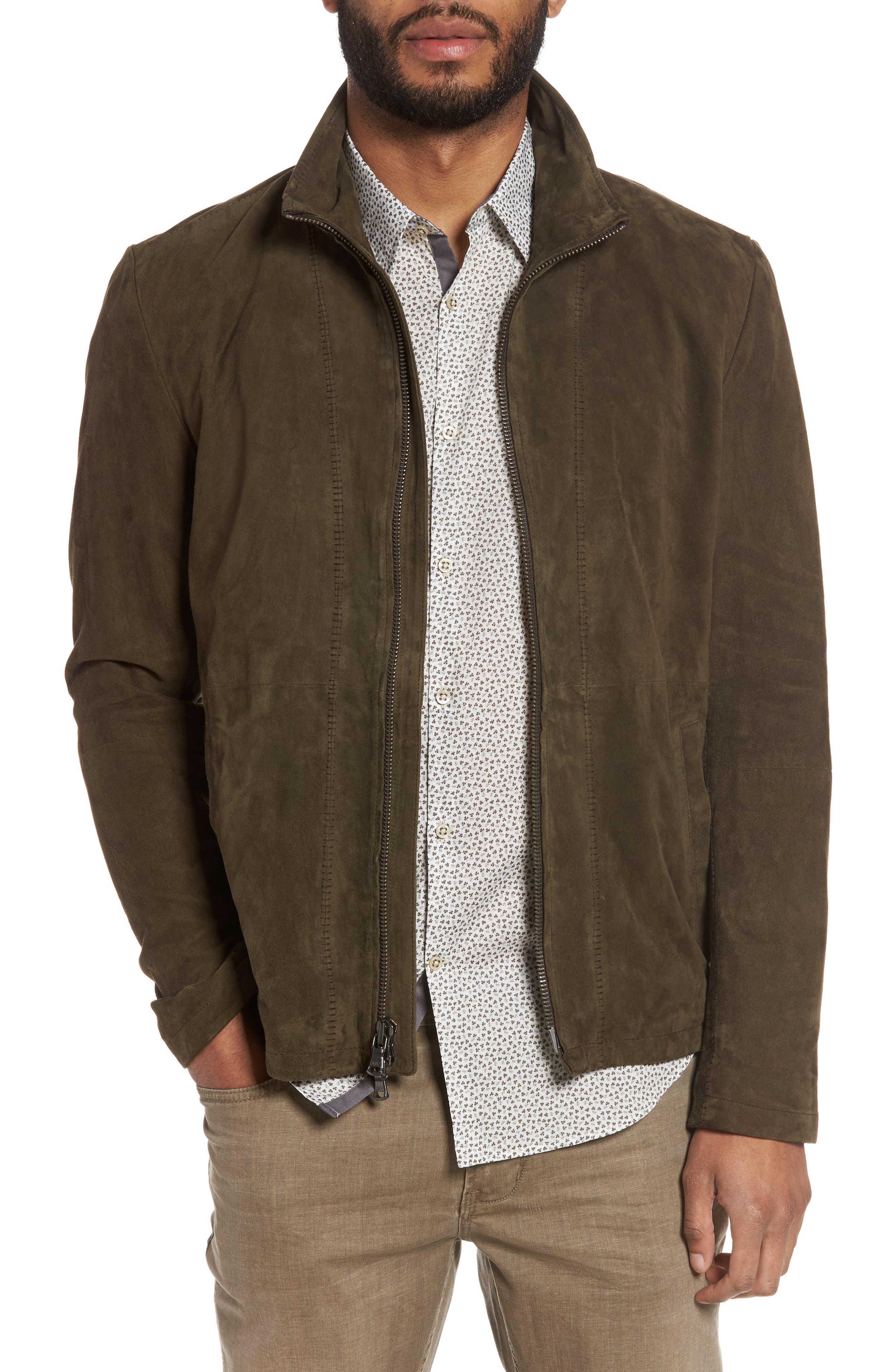 Zip Front Leather Jacket,                             Main thumbnail 1, color,                             307
