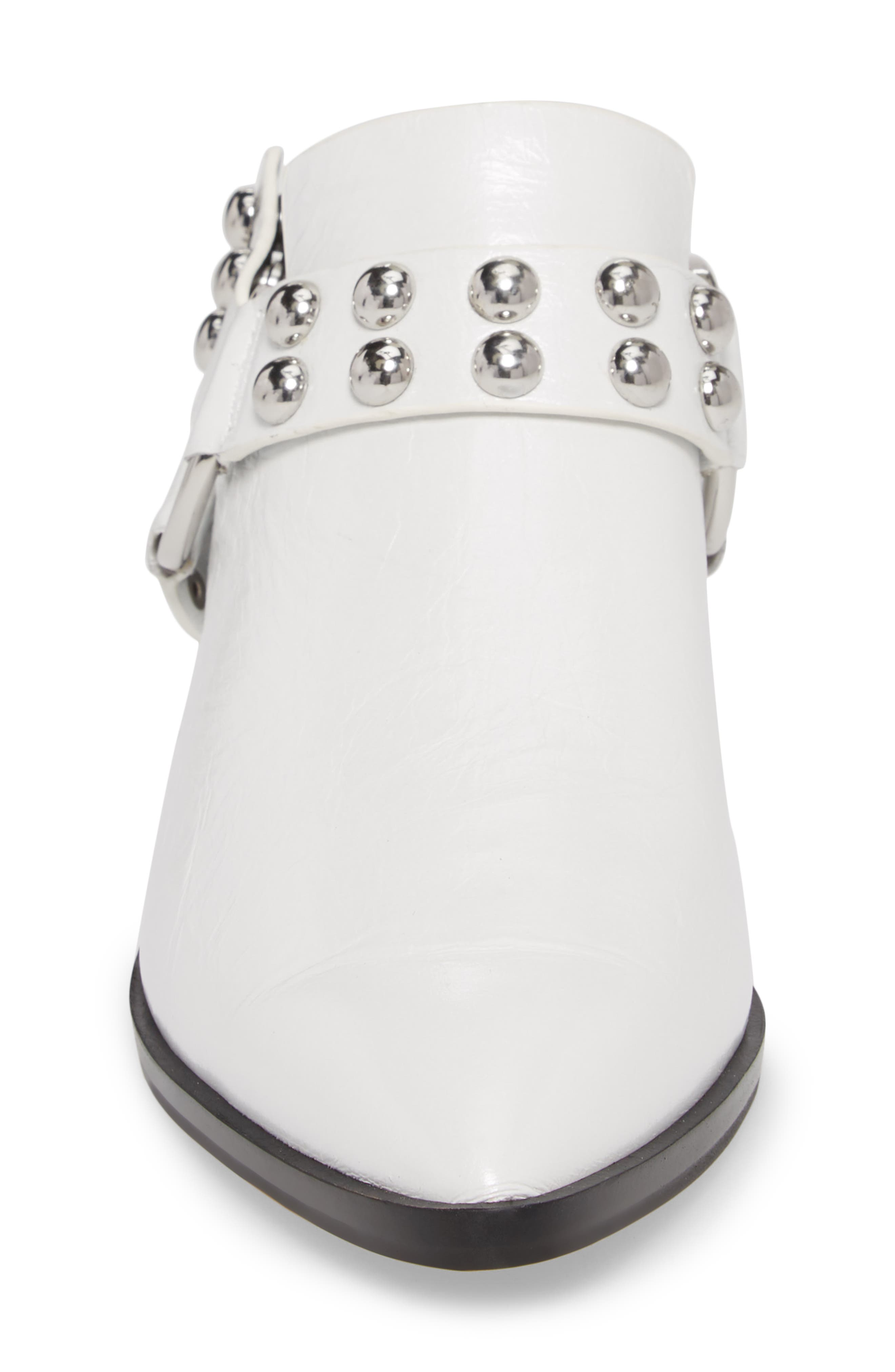 Korlyn Studded Bootie,                             Alternate thumbnail 4, color,                             WHITE LEATHER