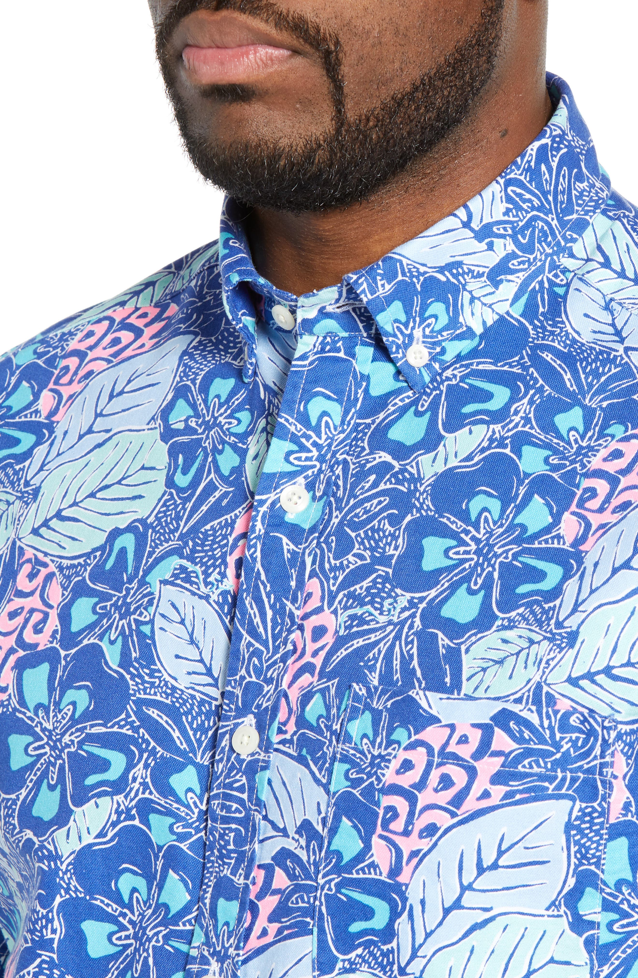 VINEYARD VINES,                             Murray Slim Fit Pineapple Print Sport Shirt,                             Alternate thumbnail 2, color,                             ROYAL OCEAN