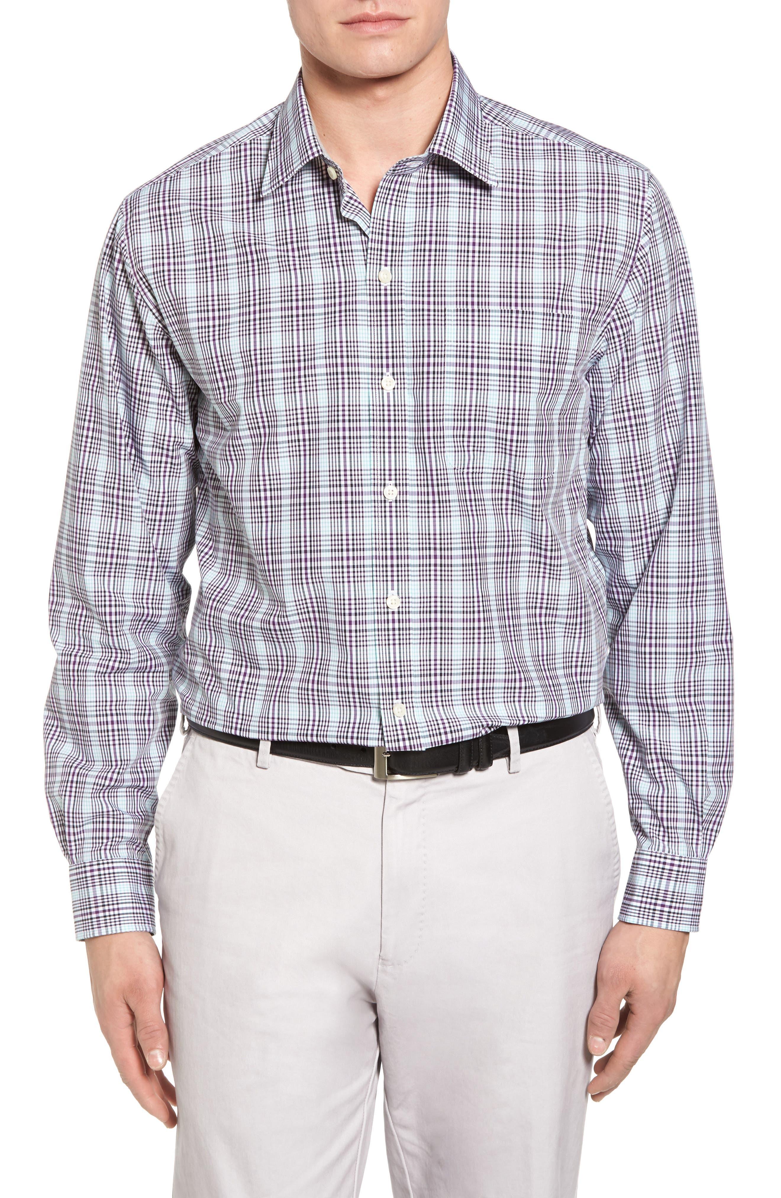 Hoyt Plaid Non-Iron Sport Shirt,                             Main thumbnail 1, color,