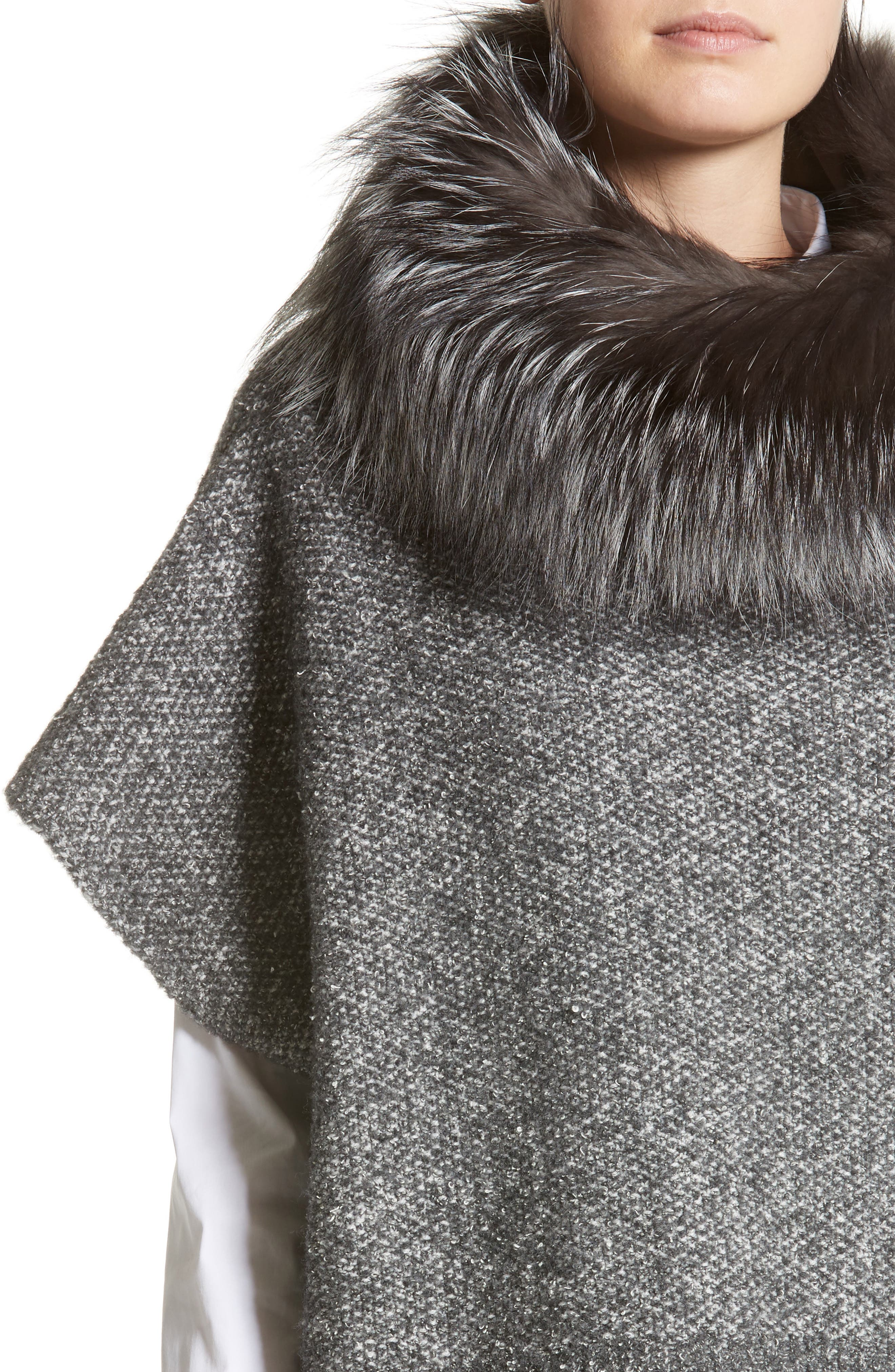 Pebble Tweed Knit Poncho with Genuine Fox Fur Collar,                             Alternate thumbnail 4, color,                             021