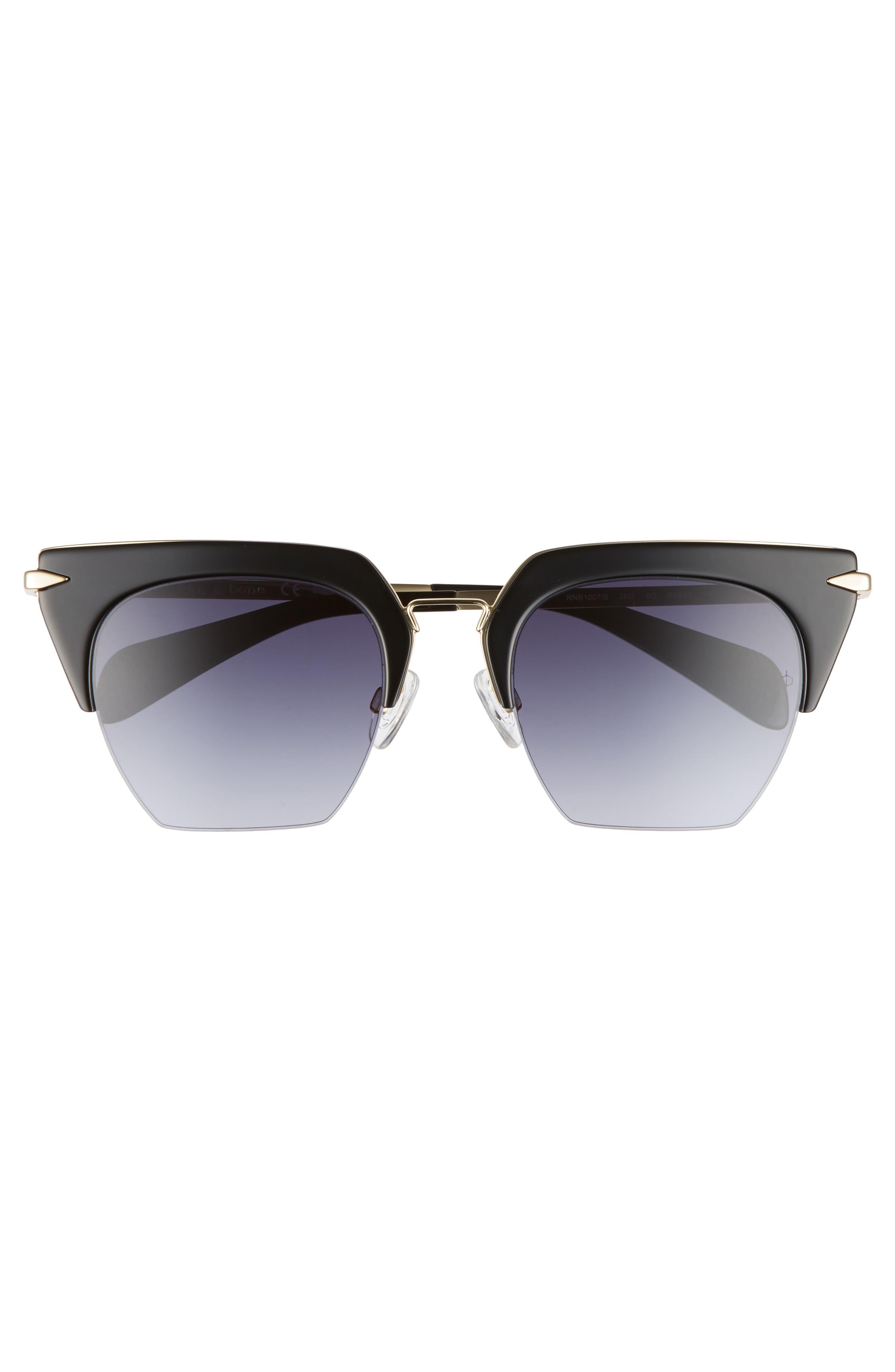 51mm Cat Eye Sunglasses,                             Alternate thumbnail 3, color,                             BLACK/ GOLD