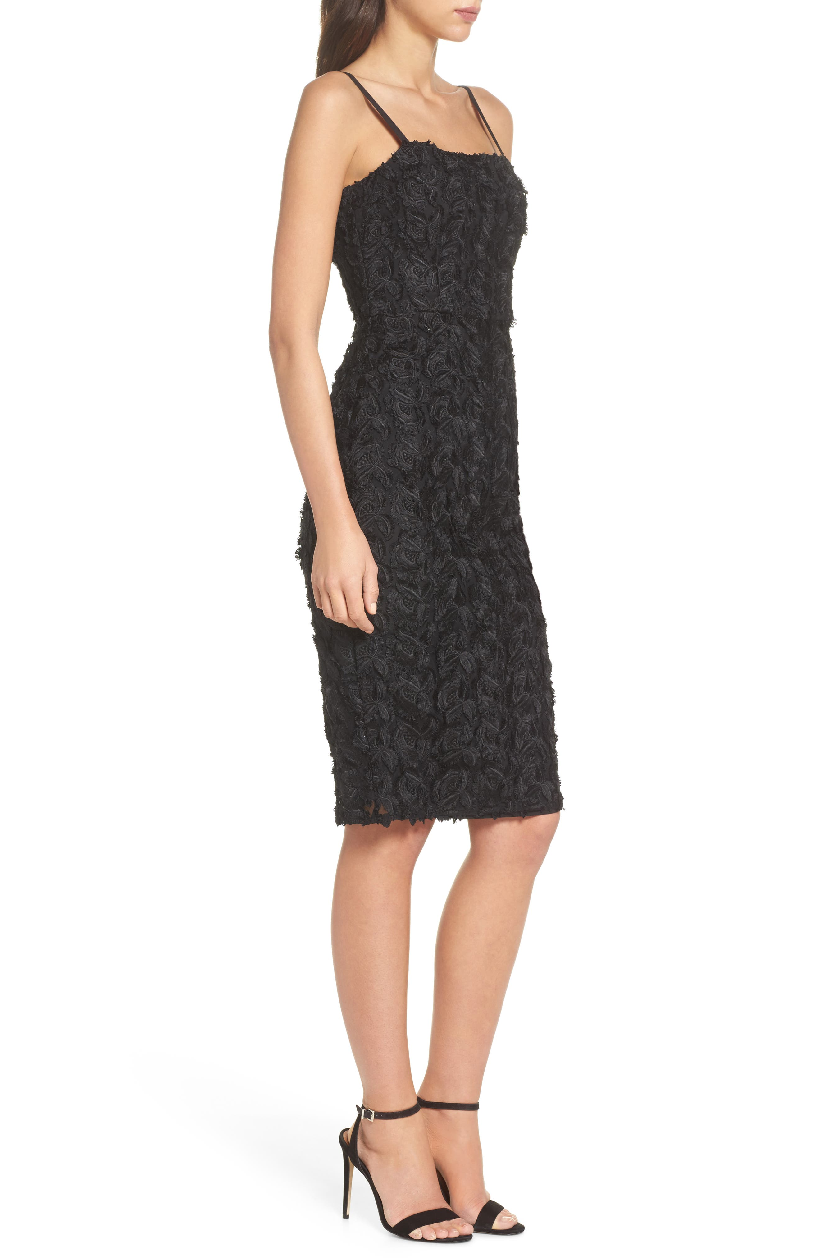 Floral Mirage Embroidered Lace Dress,                             Alternate thumbnail 3, color,                             001