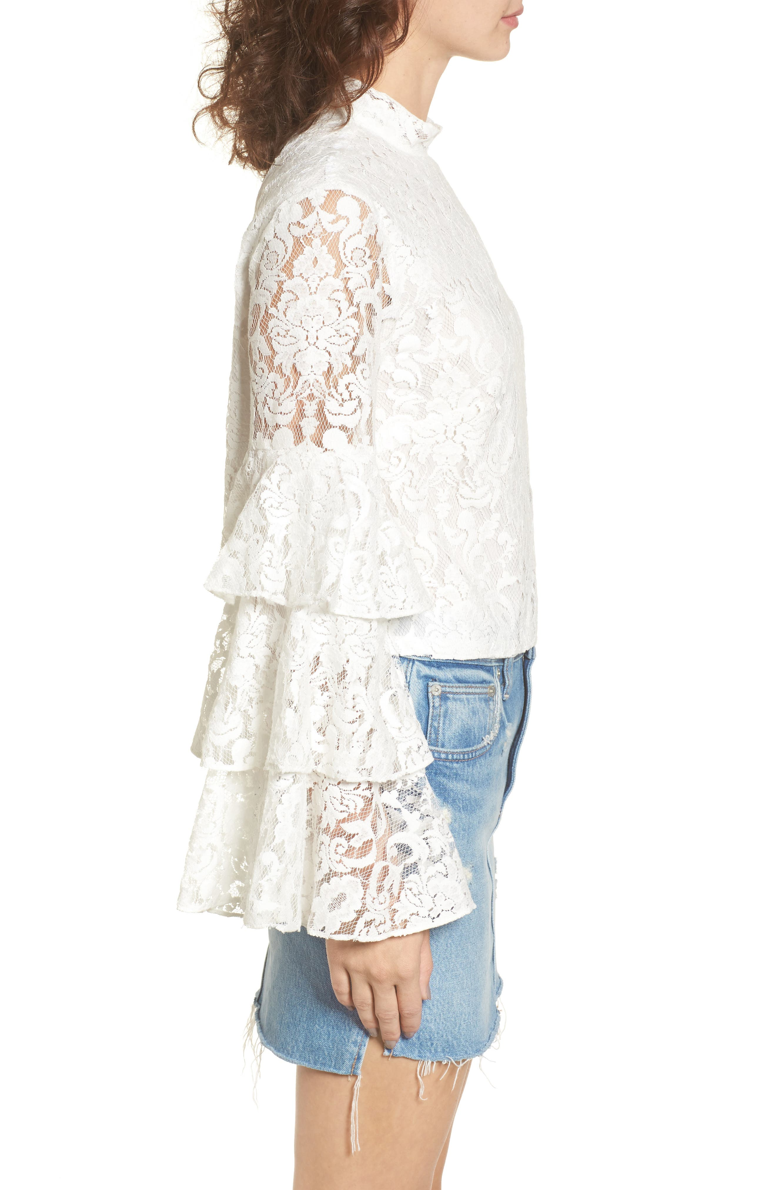 Ruffle Sleeve Lace Top,                             Alternate thumbnail 3, color,                             100