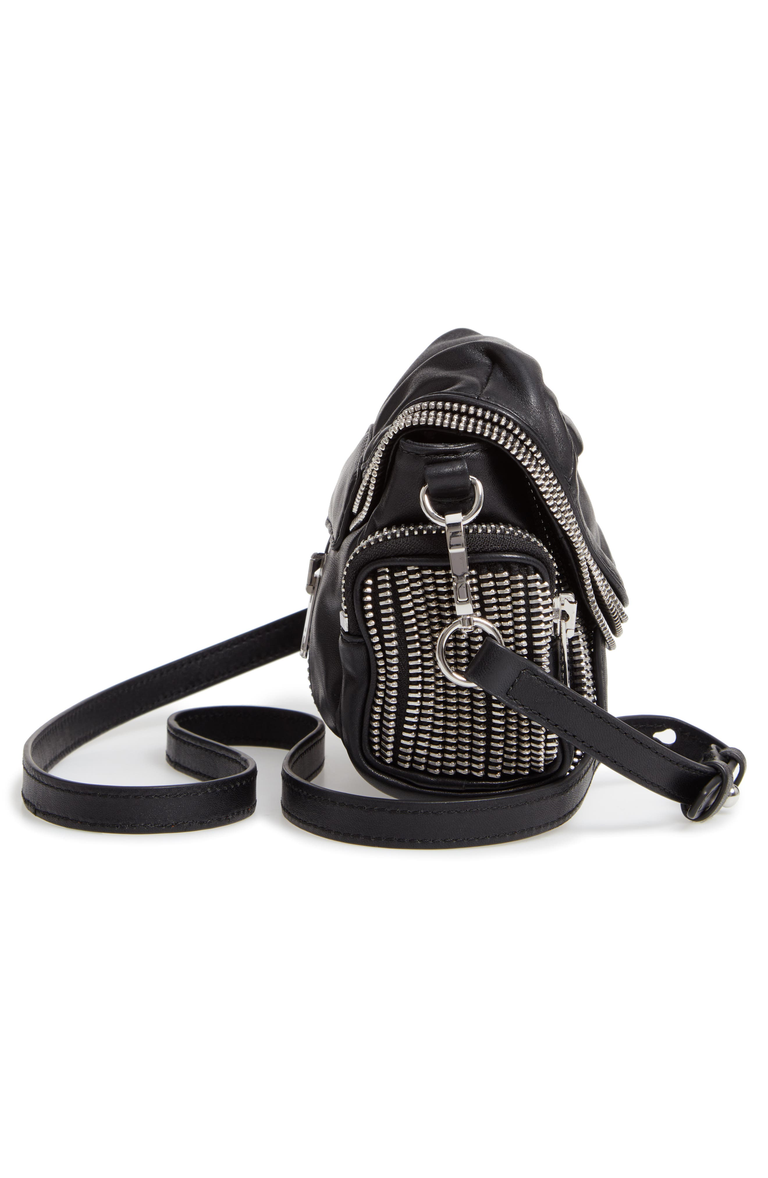 Micro Marti Leather Crossbody Bag,                             Alternate thumbnail 5, color,                             BLACK