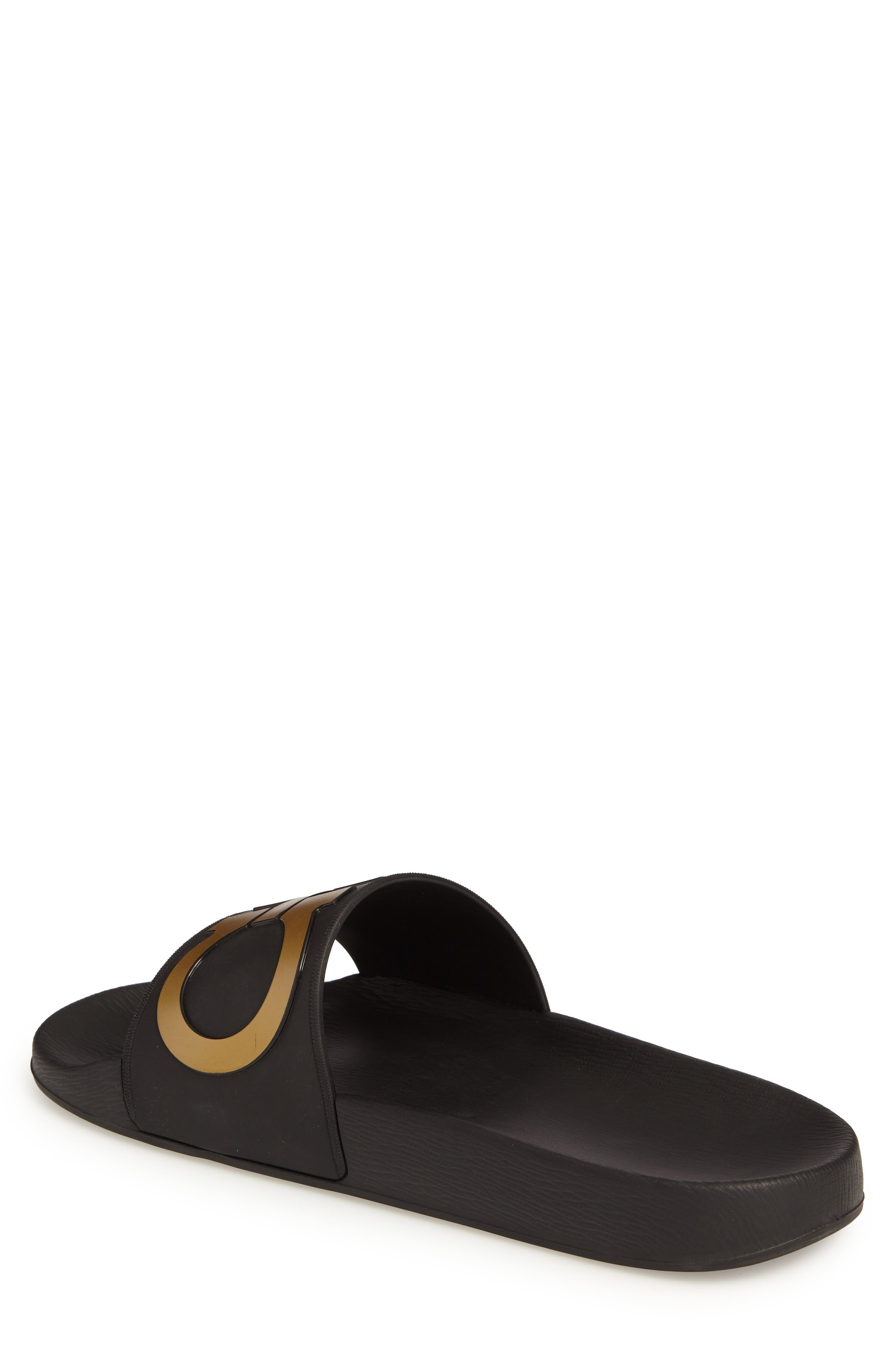 Groove 2 Slide Sandal,                             Alternate thumbnail 2, color,                             BLACK/GOLD