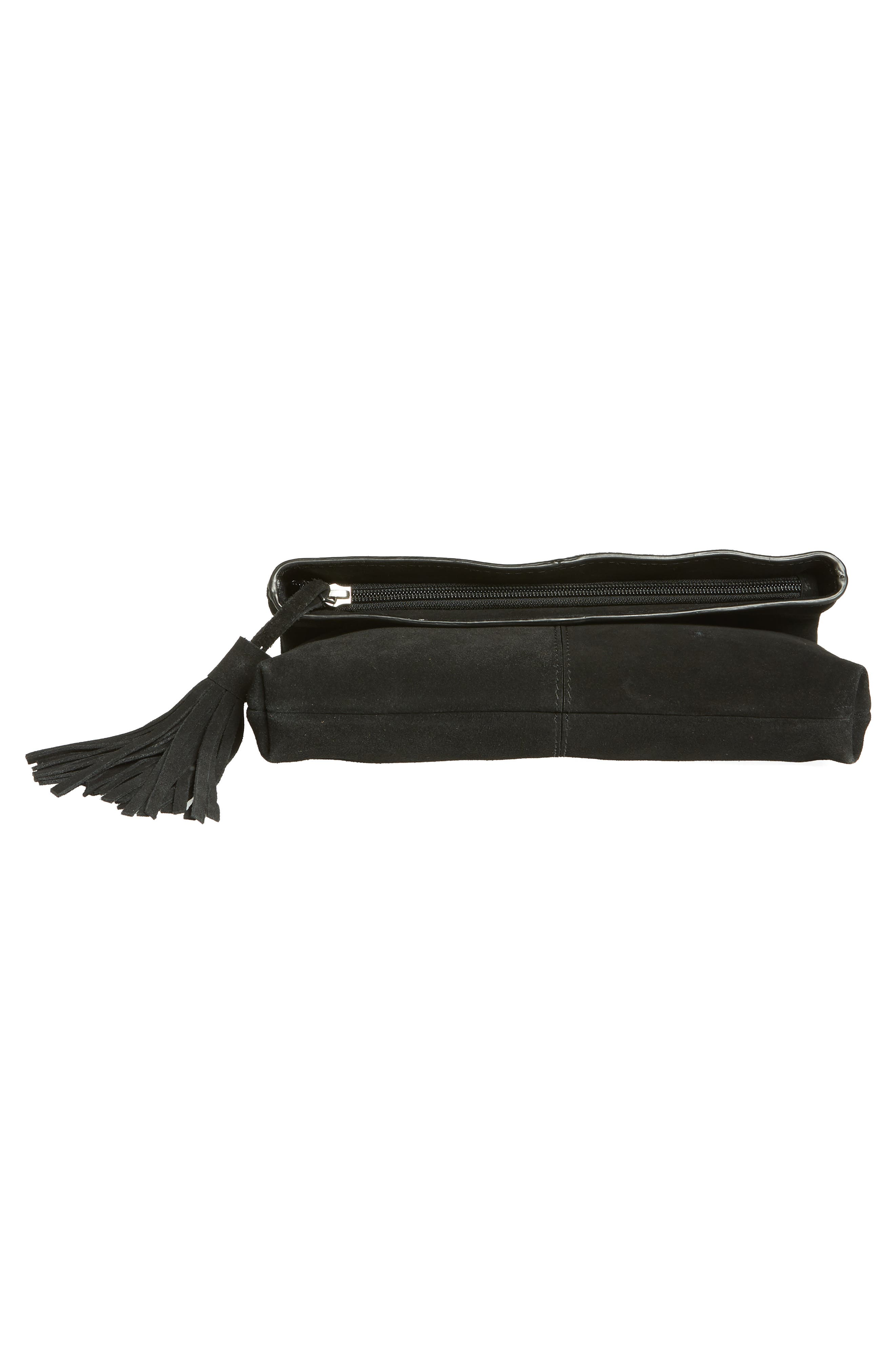 Suede Clutch,                             Alternate thumbnail 6, color,                             BLACK
