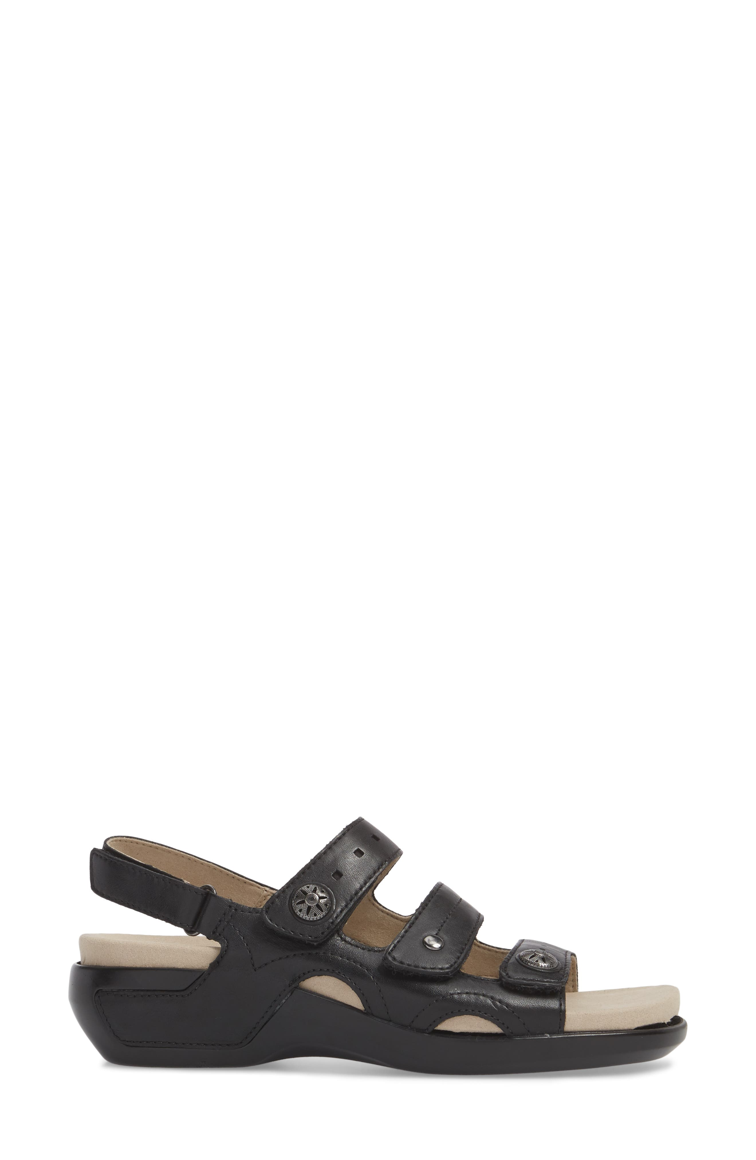 Three Strap Sandal,                             Alternate thumbnail 3, color,                             BLACK LEATHER