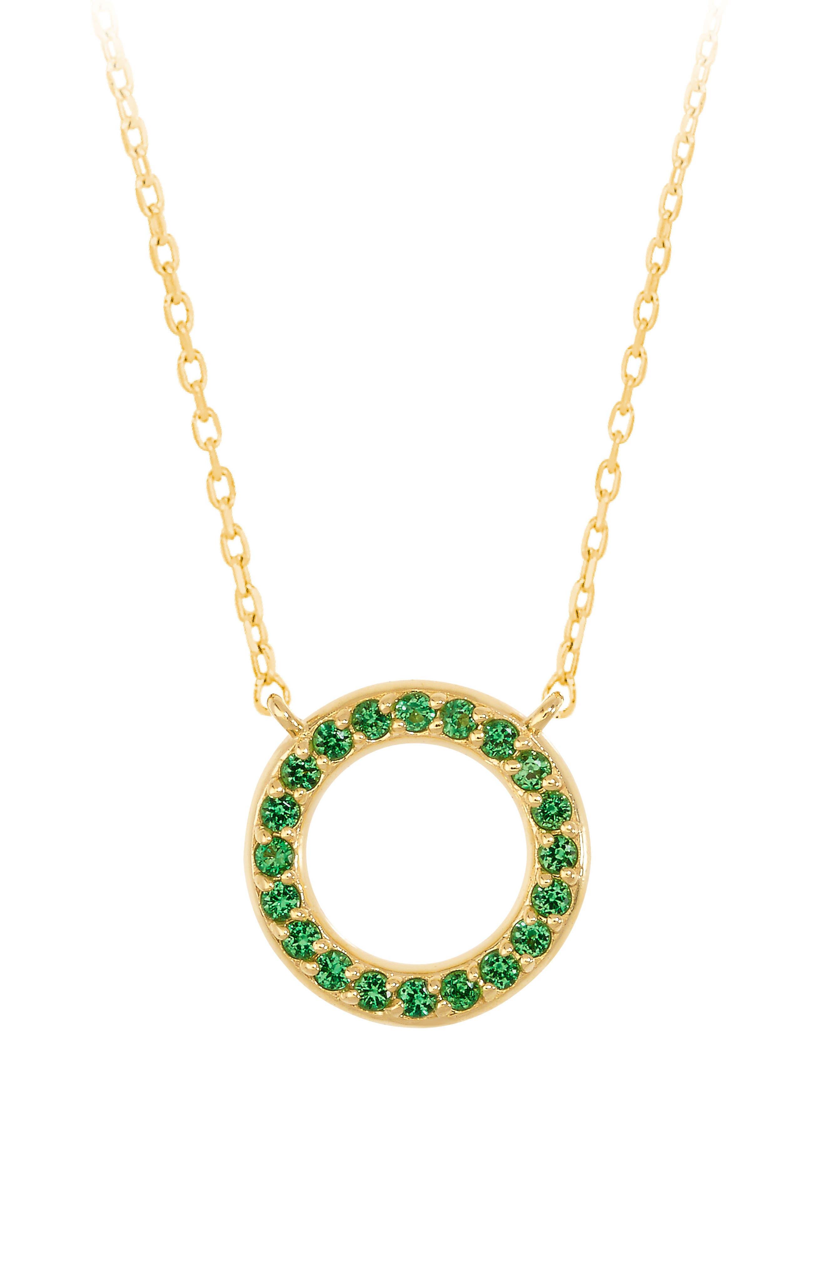 Baby Memphis Tsavorite O-Necklace,                         Main,                         color, GOLD/ TSAVORITE