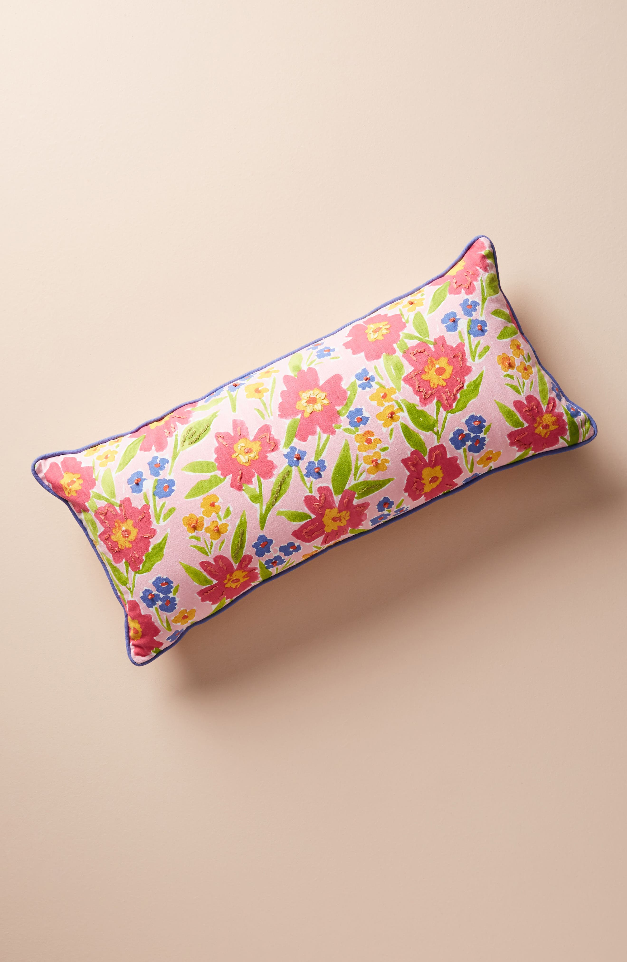 ANTHROPOLOGIE Painted Poppies Accent Pillow, Main, color, 650