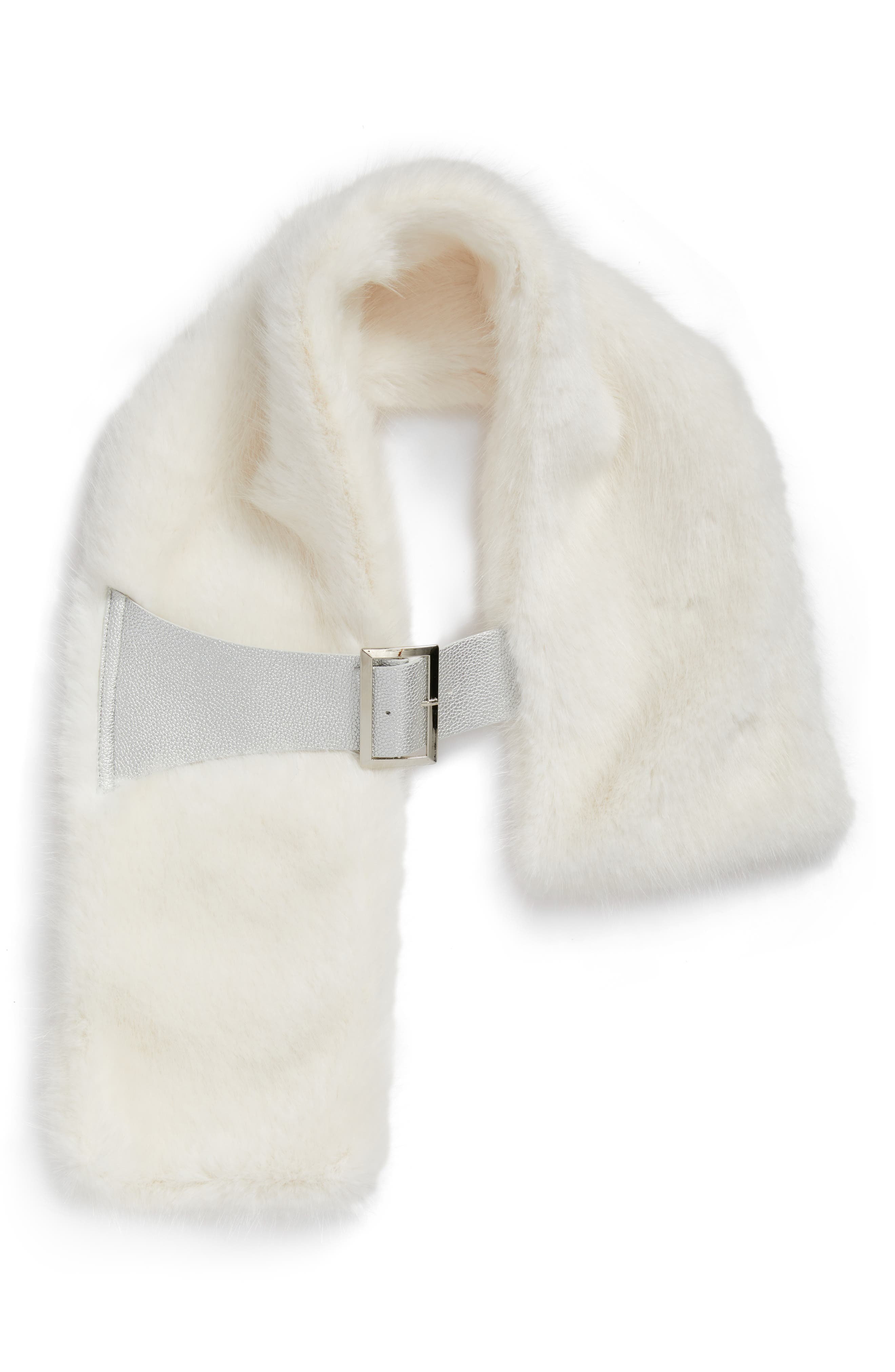 Buckled Faux Fur Scarf,                             Alternate thumbnail 2, color,                             WHITE MINK
