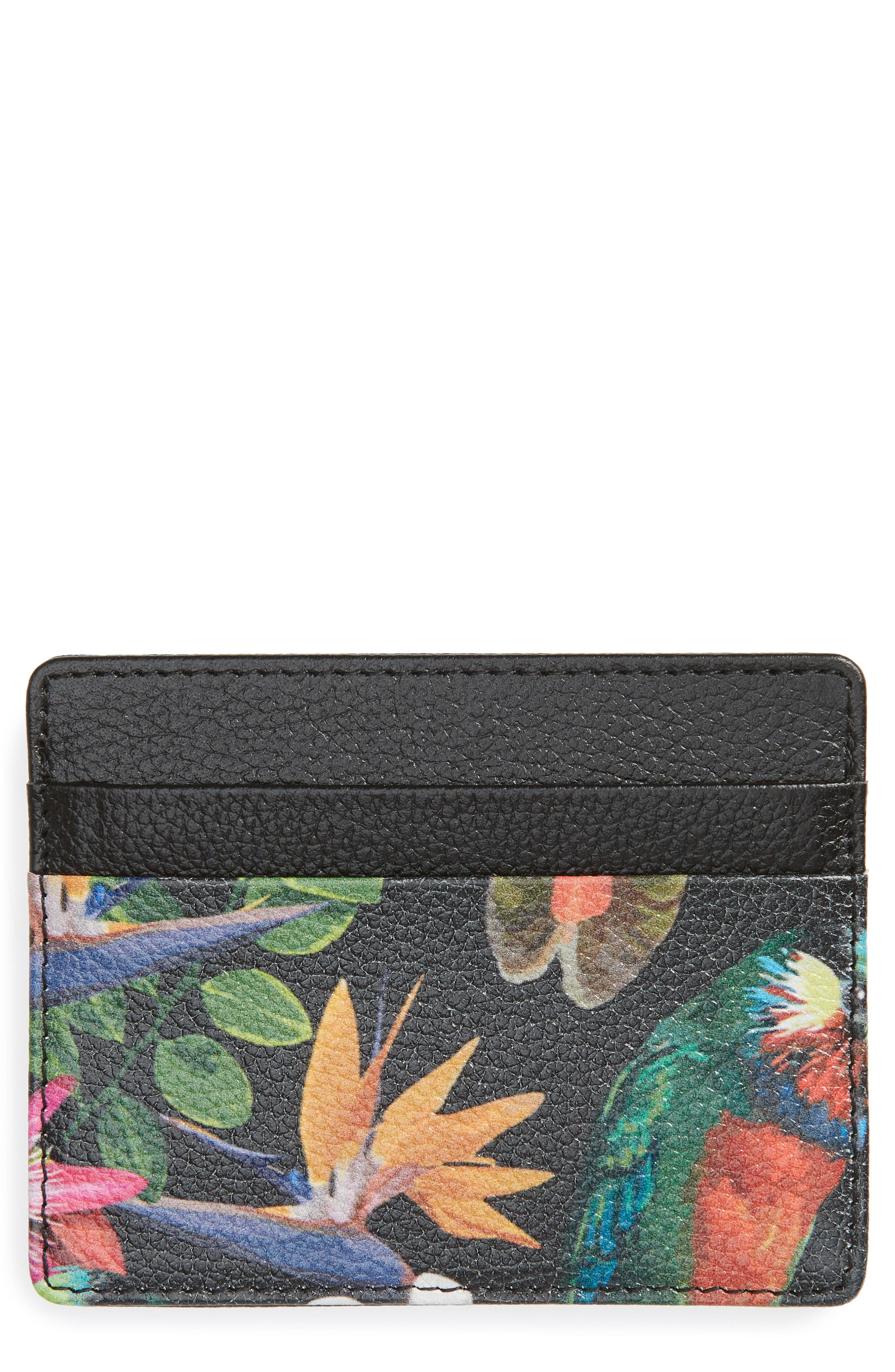 Jamie Leather Card Case,                         Main,                         color, BLACK- RED TROPICAL FLORA