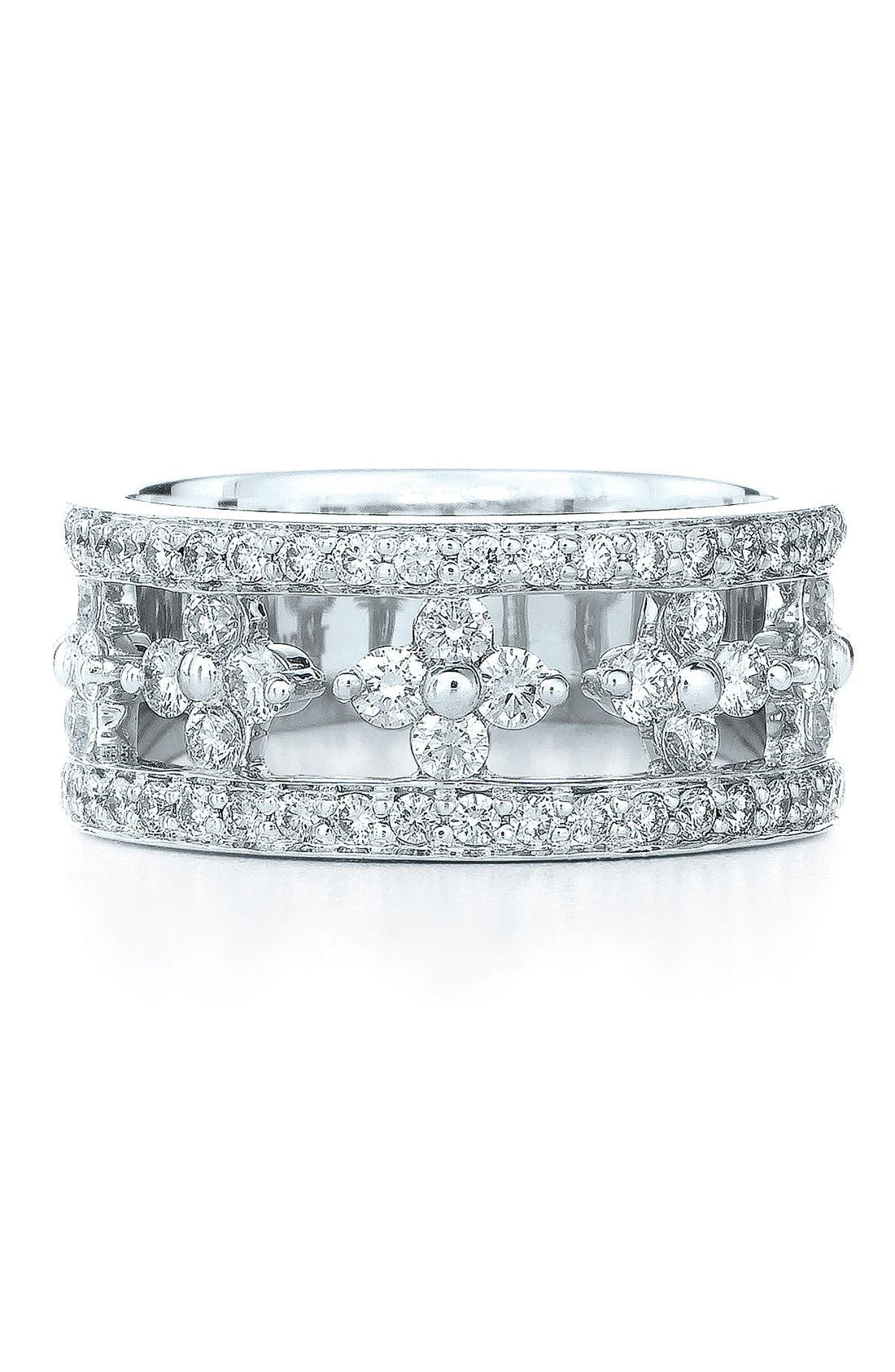 'Jasmine' Floral White Gold & Diamond Ring,                             Main thumbnail 1, color,                             WHITE GOLD