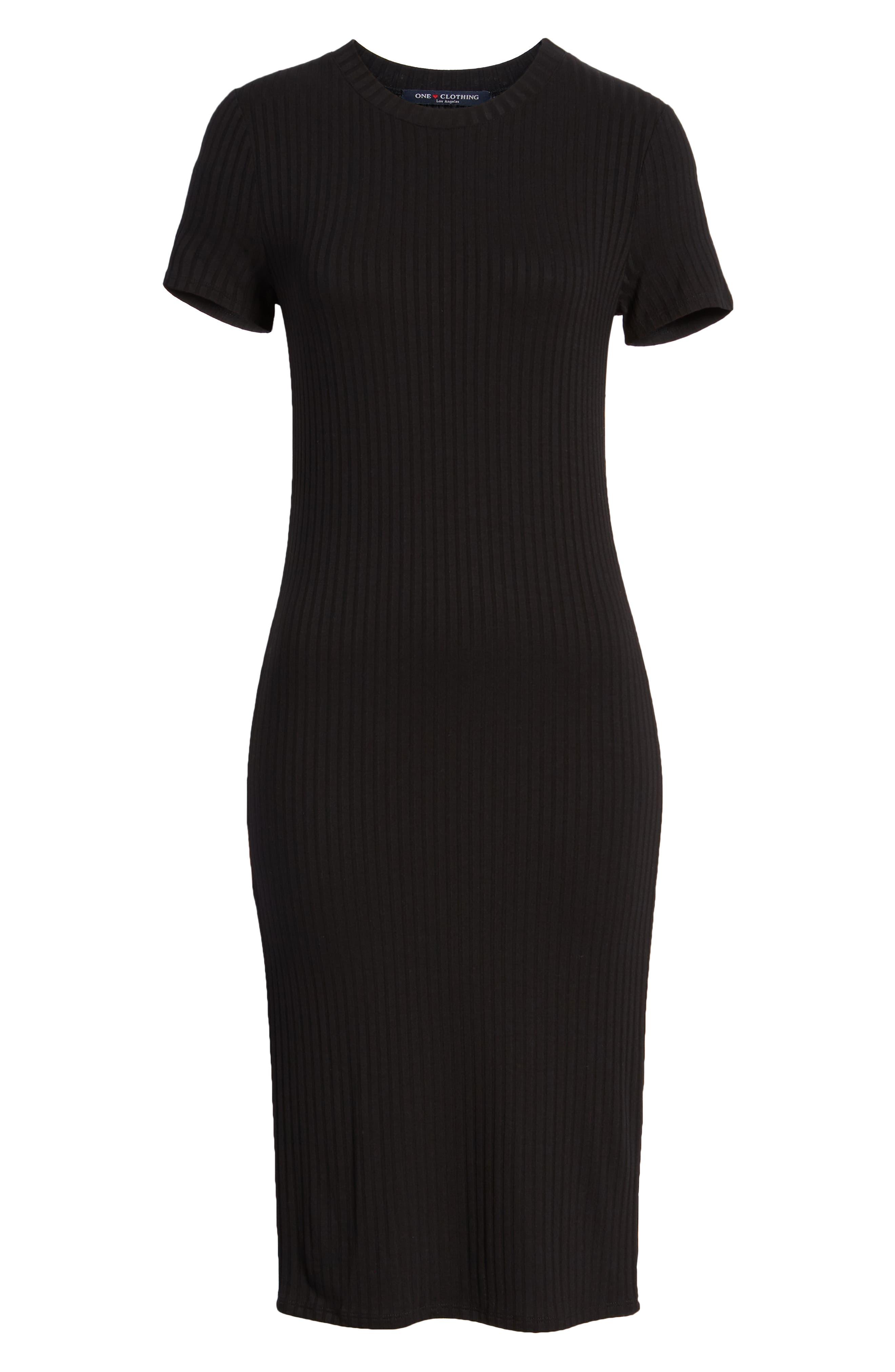 Side Stripe Rib Knit Dress,                             Alternate thumbnail 7, color,                             001