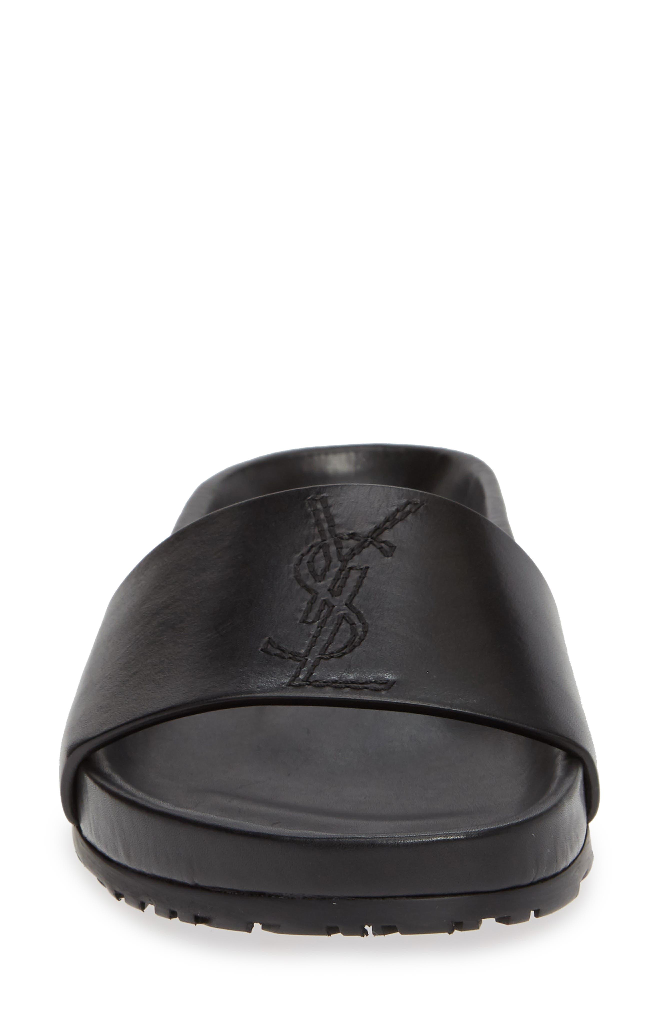 SAINT LAURENT,                             Jimmy Logo Slide Sandal,                             Alternate thumbnail 4, color,                             BLACK LEATHER