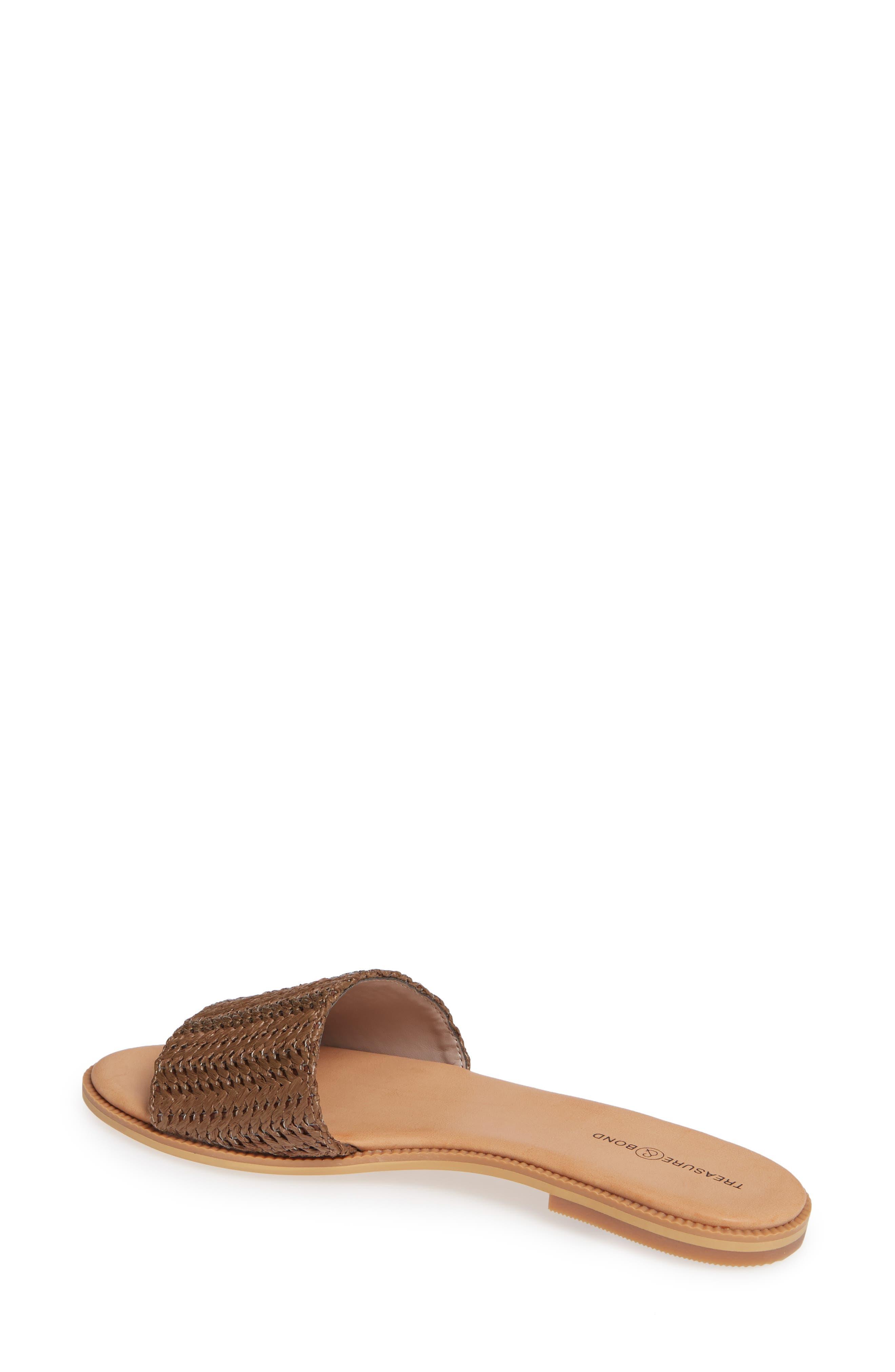 Mere Flat Slide Sandal,                             Alternate thumbnail 2, color,                             BROWN FAUX RAFFIA