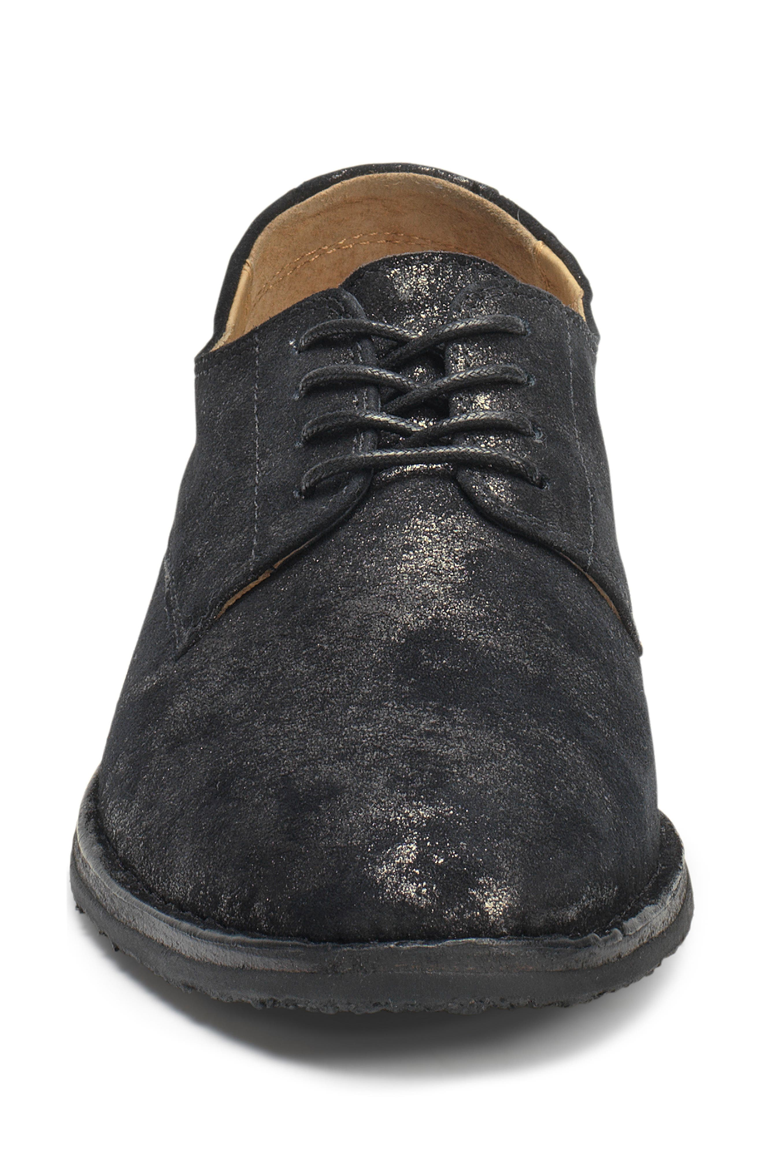 'Ana' Metallic Leather Oxford,                             Alternate thumbnail 4, color,                             BLACK SUEDE