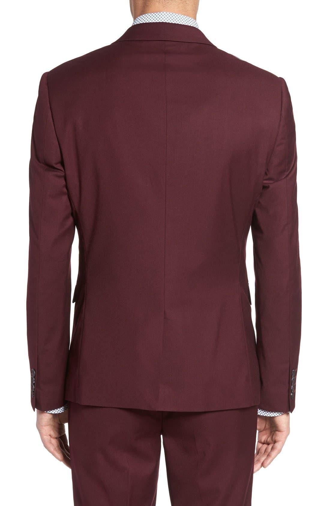 Burgundy Slim Fit Suit Jacket,                             Alternate thumbnail 2, color,                             930