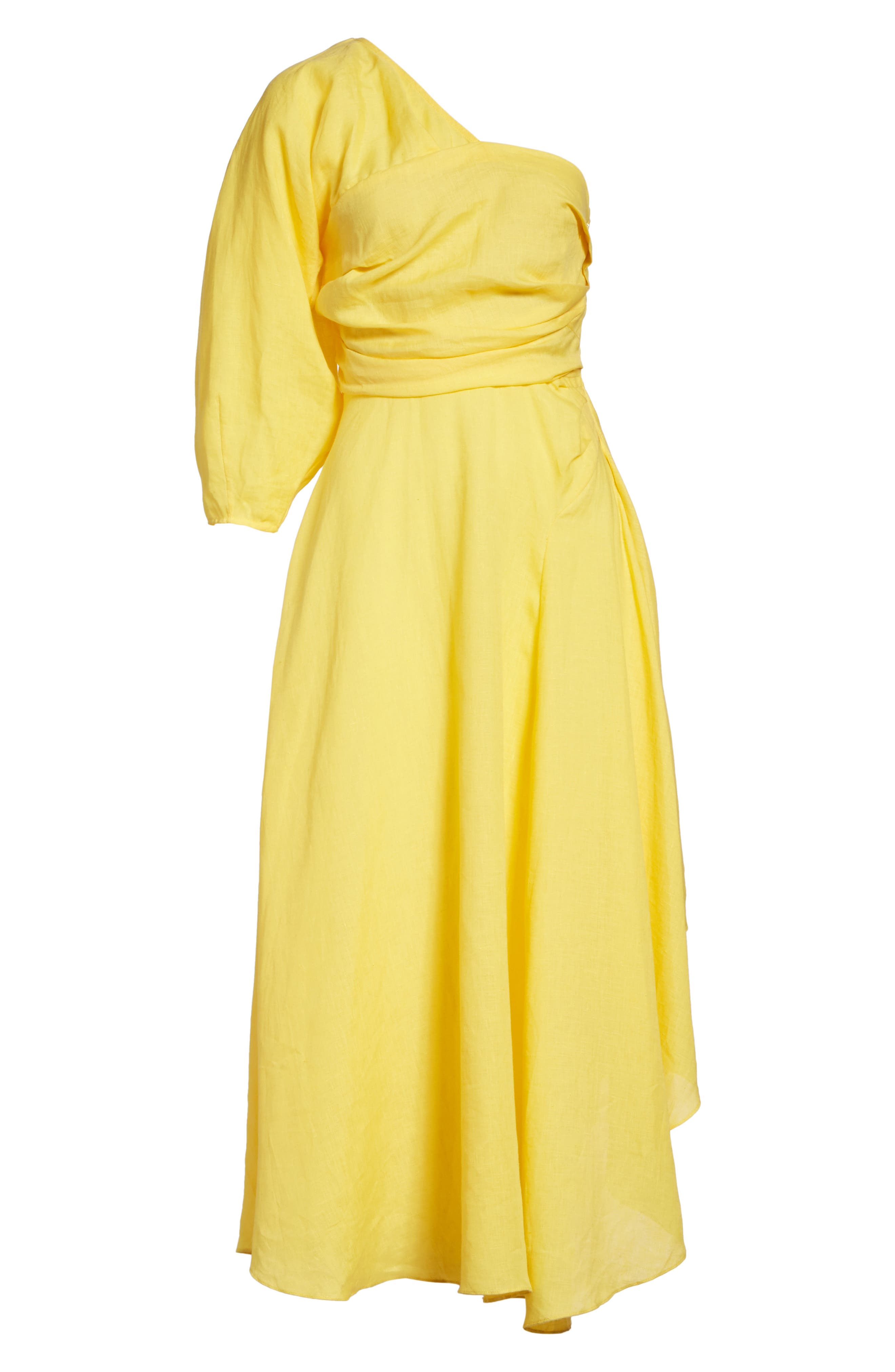Tipple One-Shoulder Dress,                             Alternate thumbnail 6, color,                             YELLOW