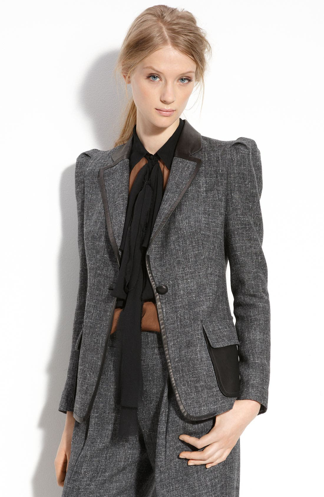 Tweed Jacket with Leather Trim,                         Main,                         color, 001