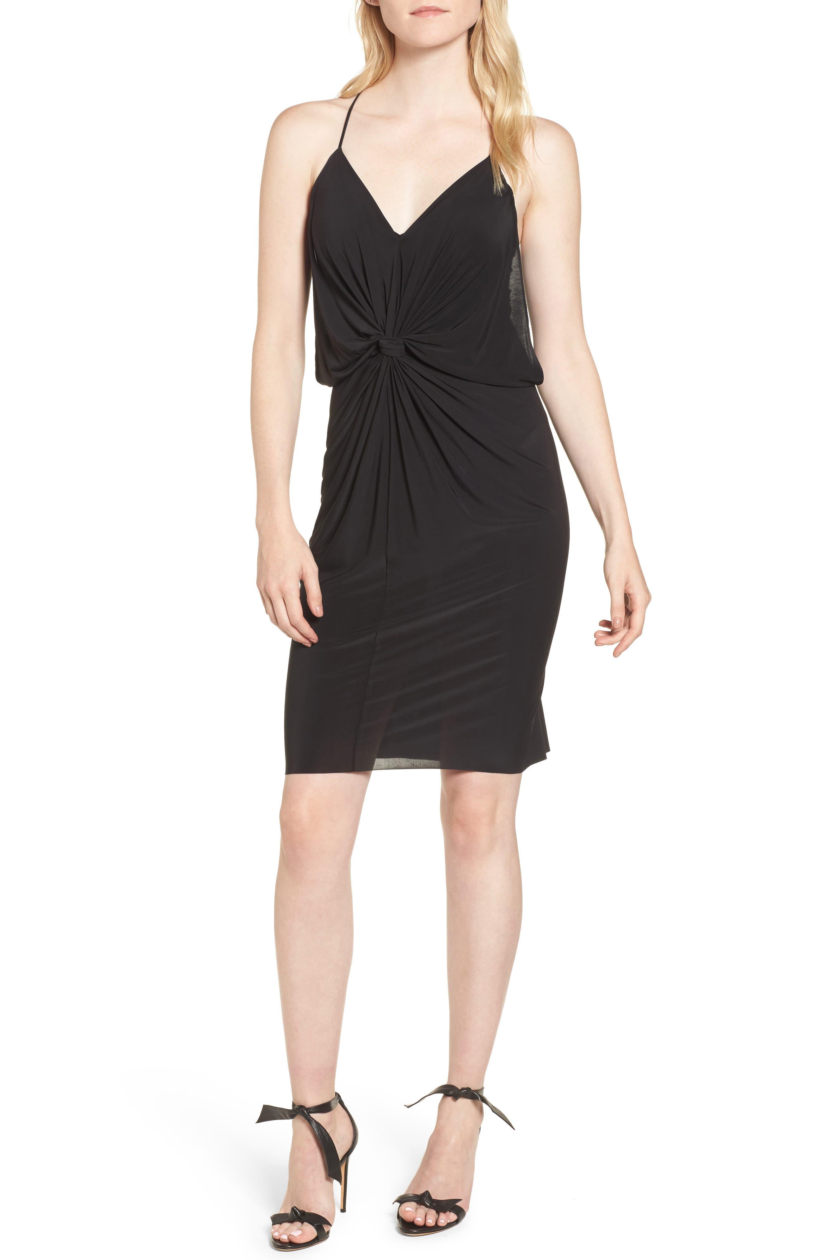 MISA Domino Short Slinky Jersey Cocktail Dress in Black