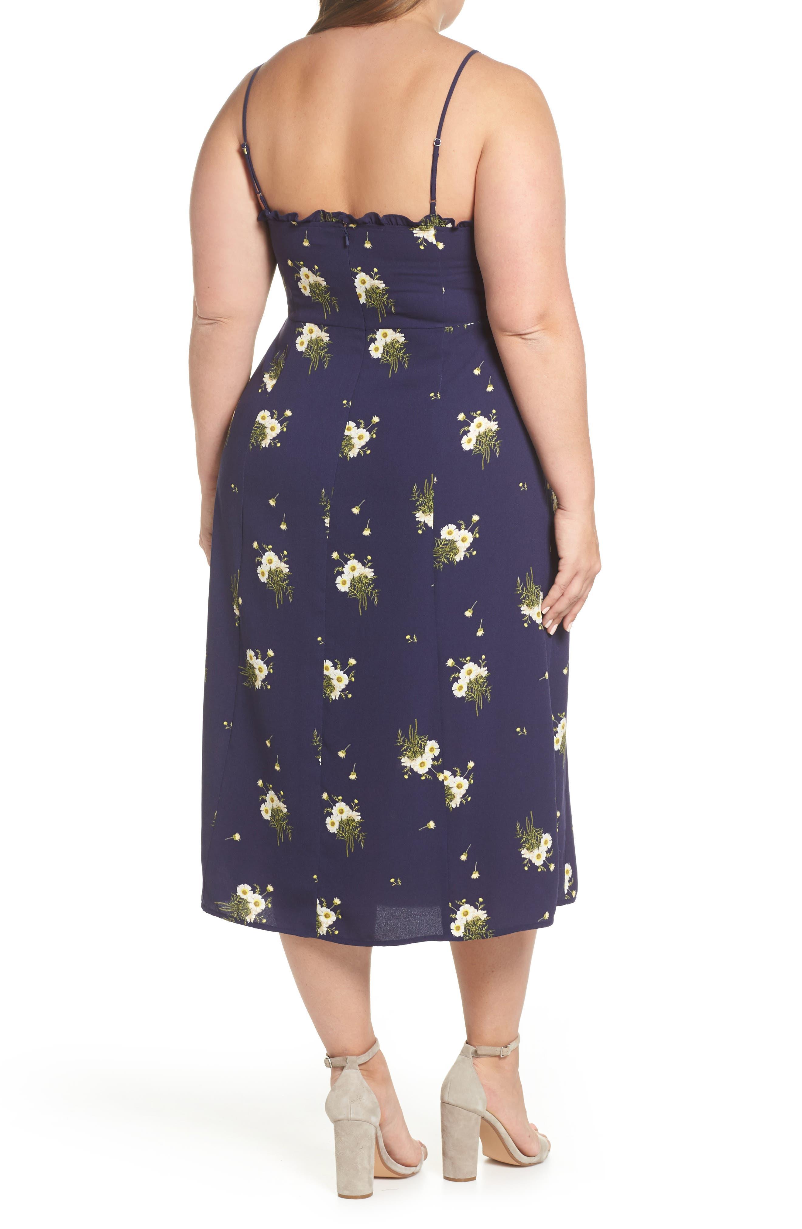BP.,                             Ruffle Trim Floral Print Midi Dress,                             Alternate thumbnail 9, color,                             NAVY EVENING DAISY