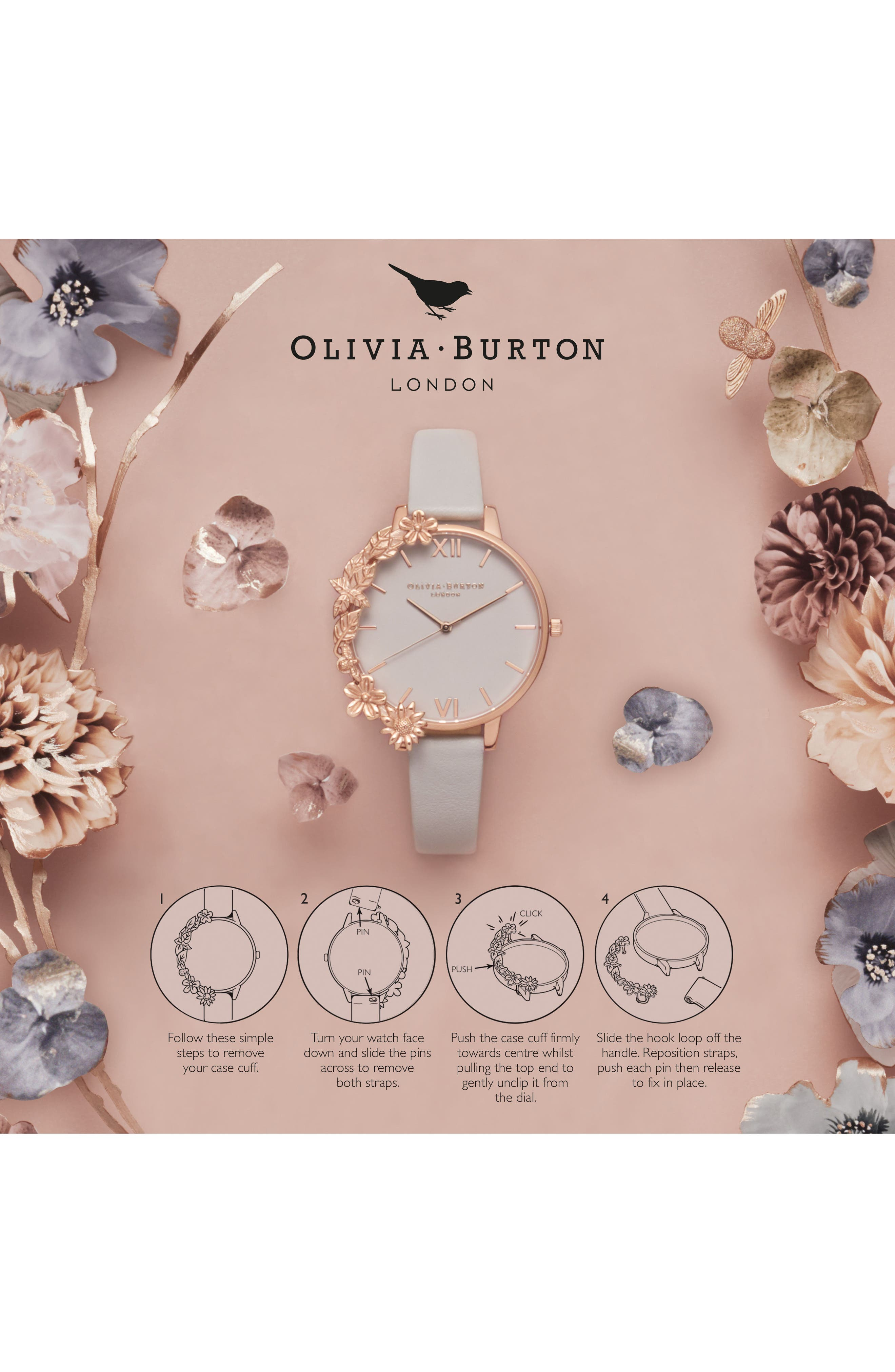 Case Cuff Leather Strap Watch, 38mm,                             Alternate thumbnail 5, color,                             BLUSH/ WHITE/ ROSE GOLD