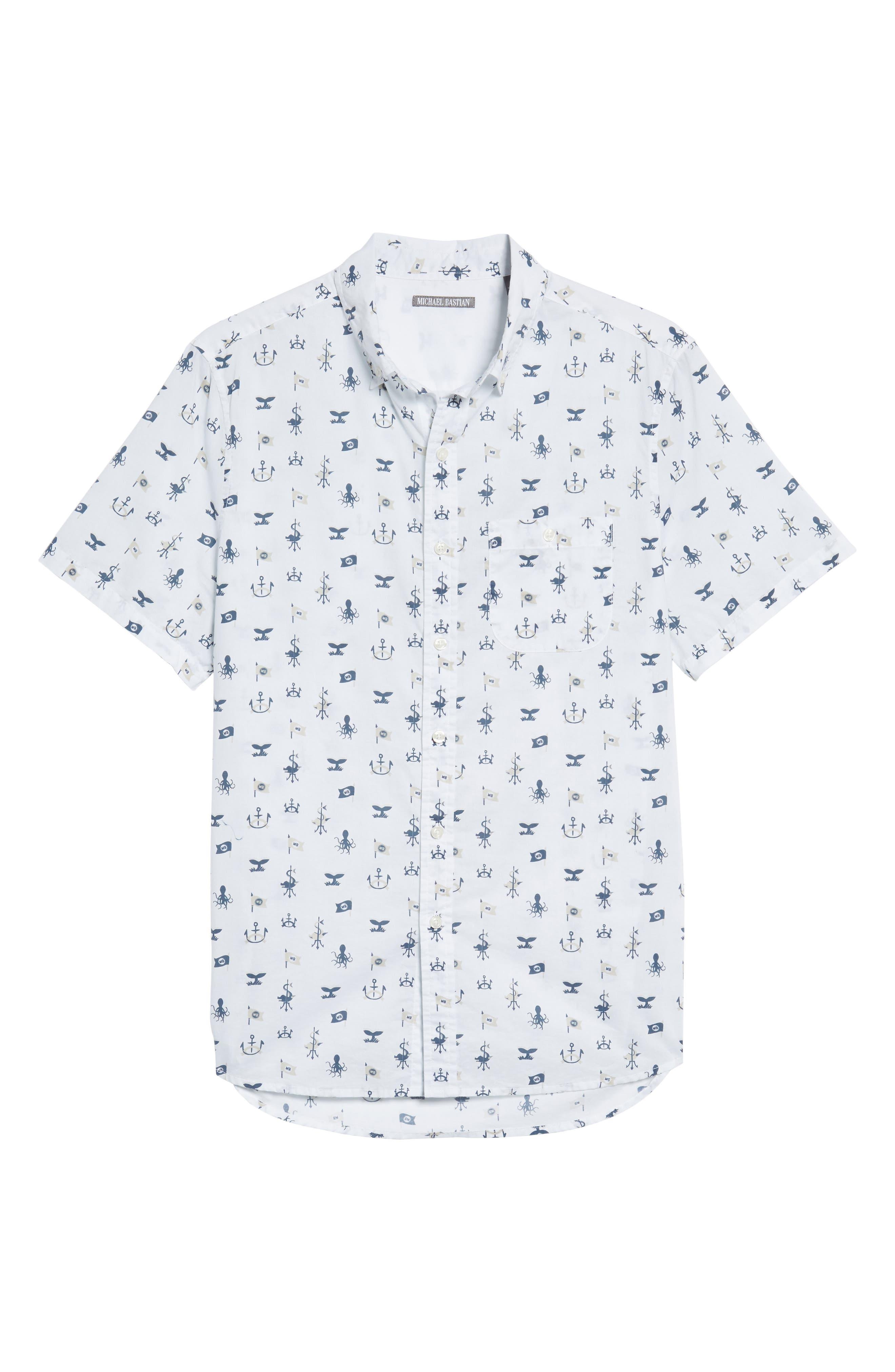 Trim Fit Nautical Sport Shirt,                             Alternate thumbnail 6, color,                             100