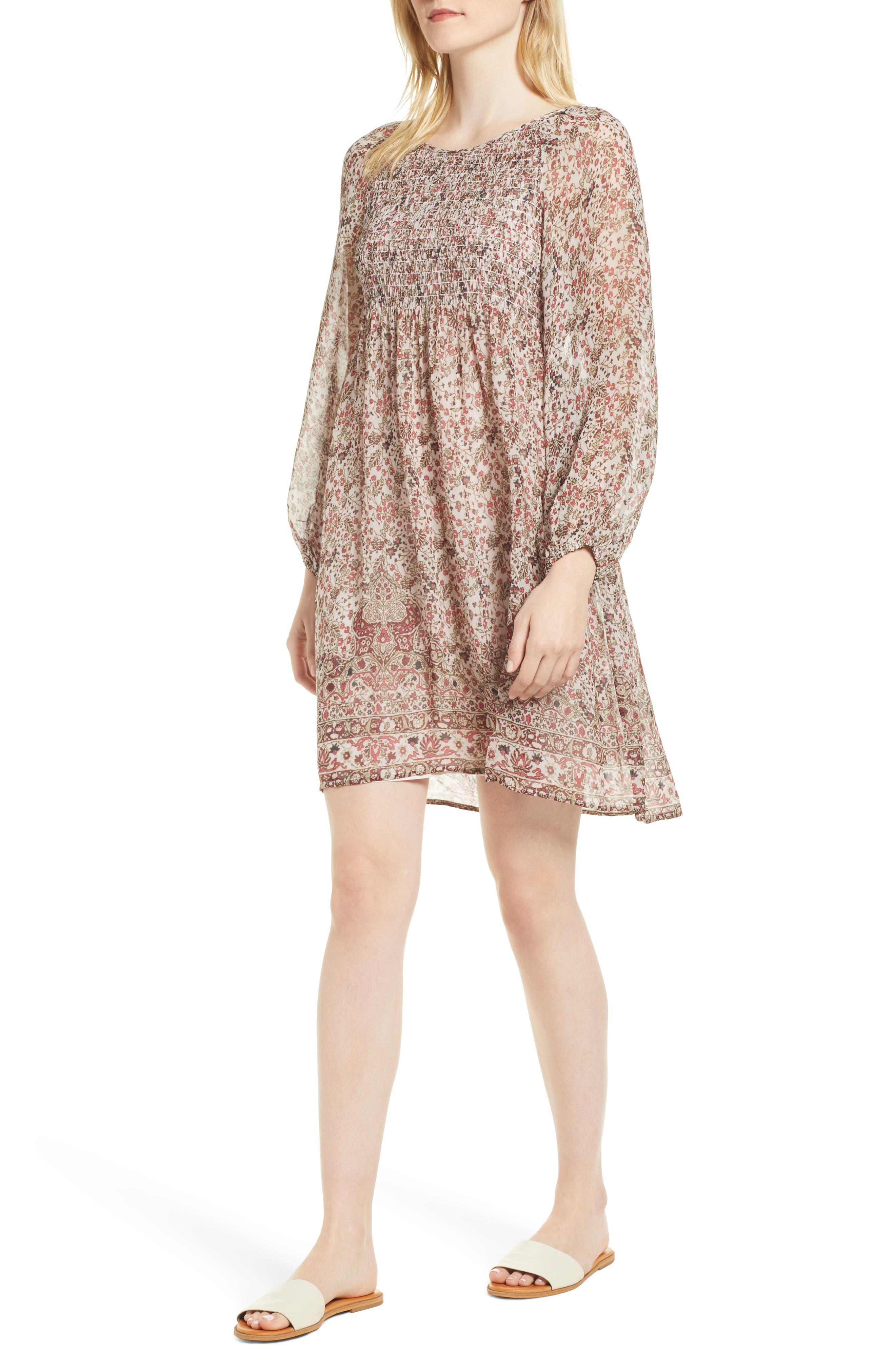 Sebastian Printed Smocked Dress,                         Main,                         color, 696