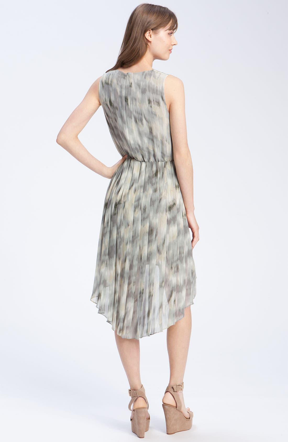 Pleated Ikat Print Dress,                             Alternate thumbnail 3, color,                             020