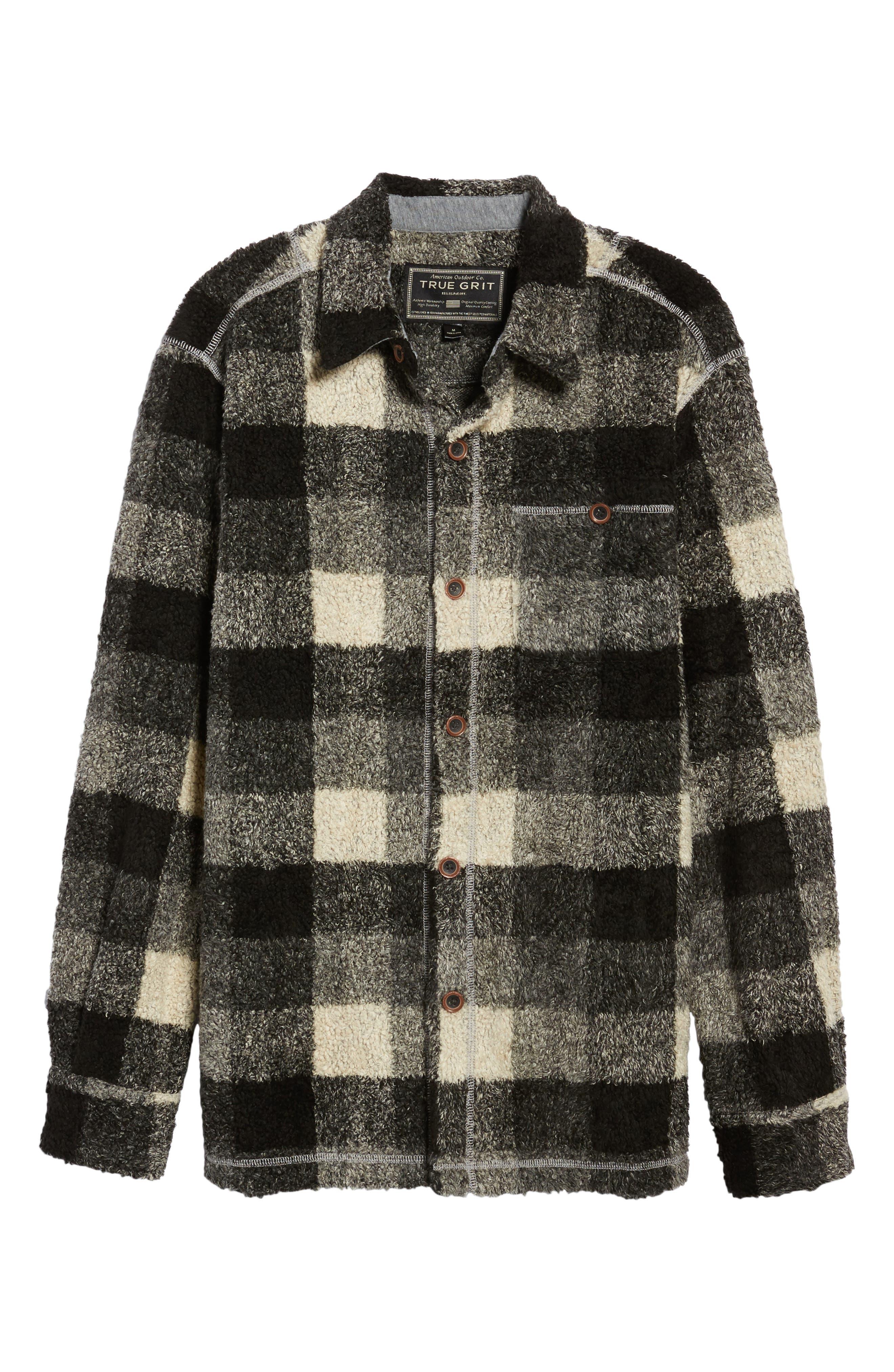 Textured Buffalo Check Shirt Jacket,                             Alternate thumbnail 5, color,                             020