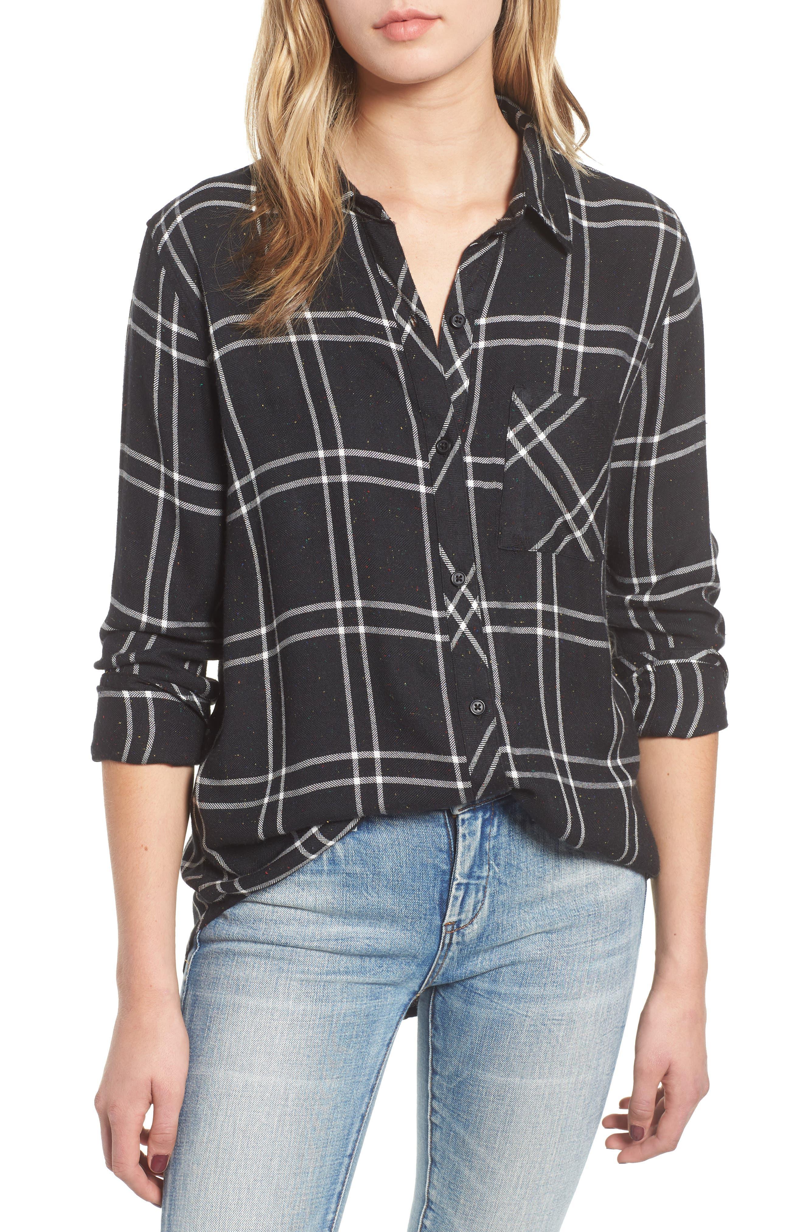 Hunter Plaid Shirt,                         Main,                         color, SPECKLED BLACK