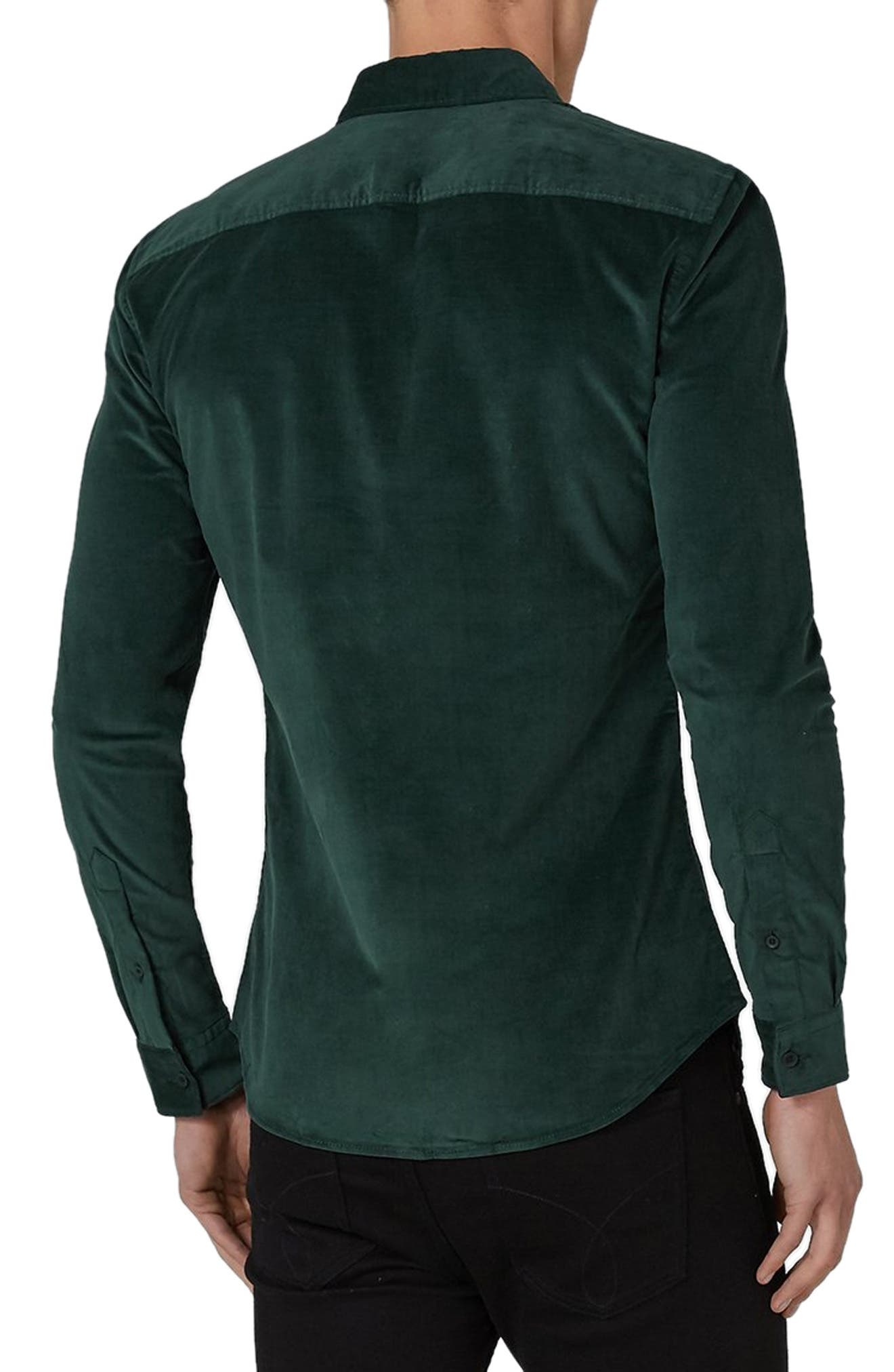 Muscle Fit Corduroy Shirt,                             Alternate thumbnail 3, color,                             GREEN