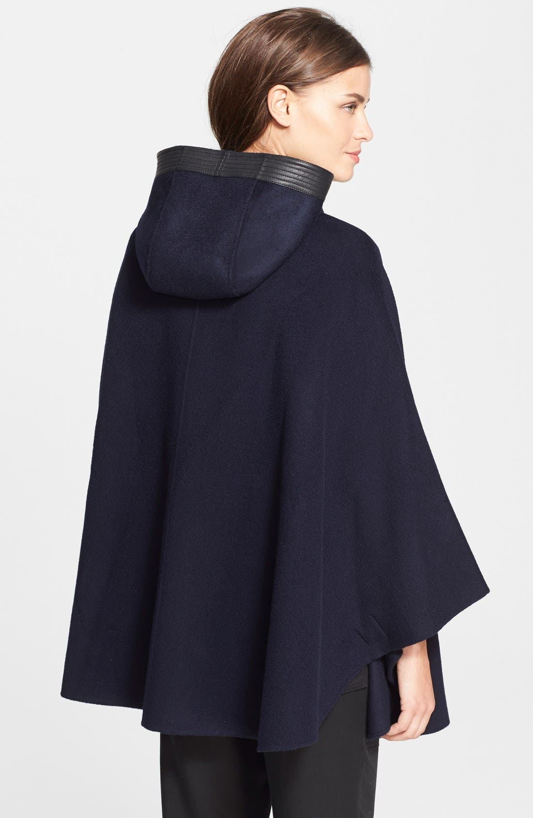 Hooded Wool Blend Cape with Leather Trim,                             Alternate thumbnail 2, color,                             470
