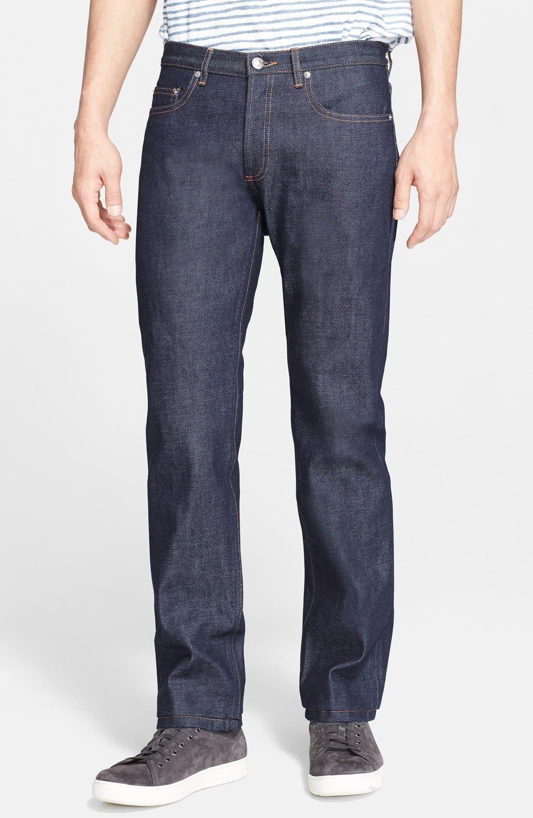 New Standard Slim Straight Leg Raw Selvedge Jeans,                             Main thumbnail 1, color,                             INDIGO WASH