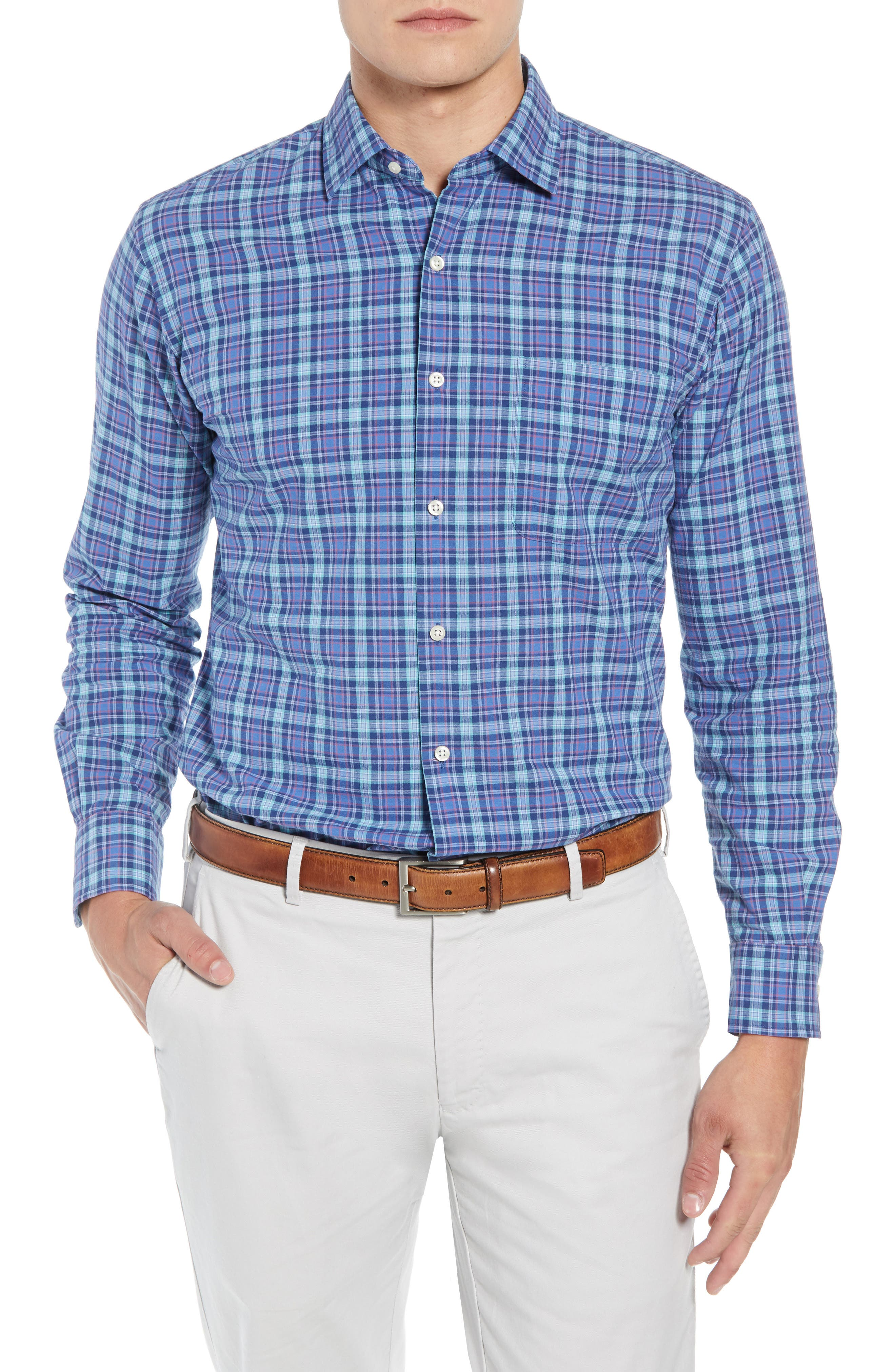 Fisherman's Wharf Regular Fit Plaid Sport Shirt,                             Main thumbnail 1, color,                             BLUE