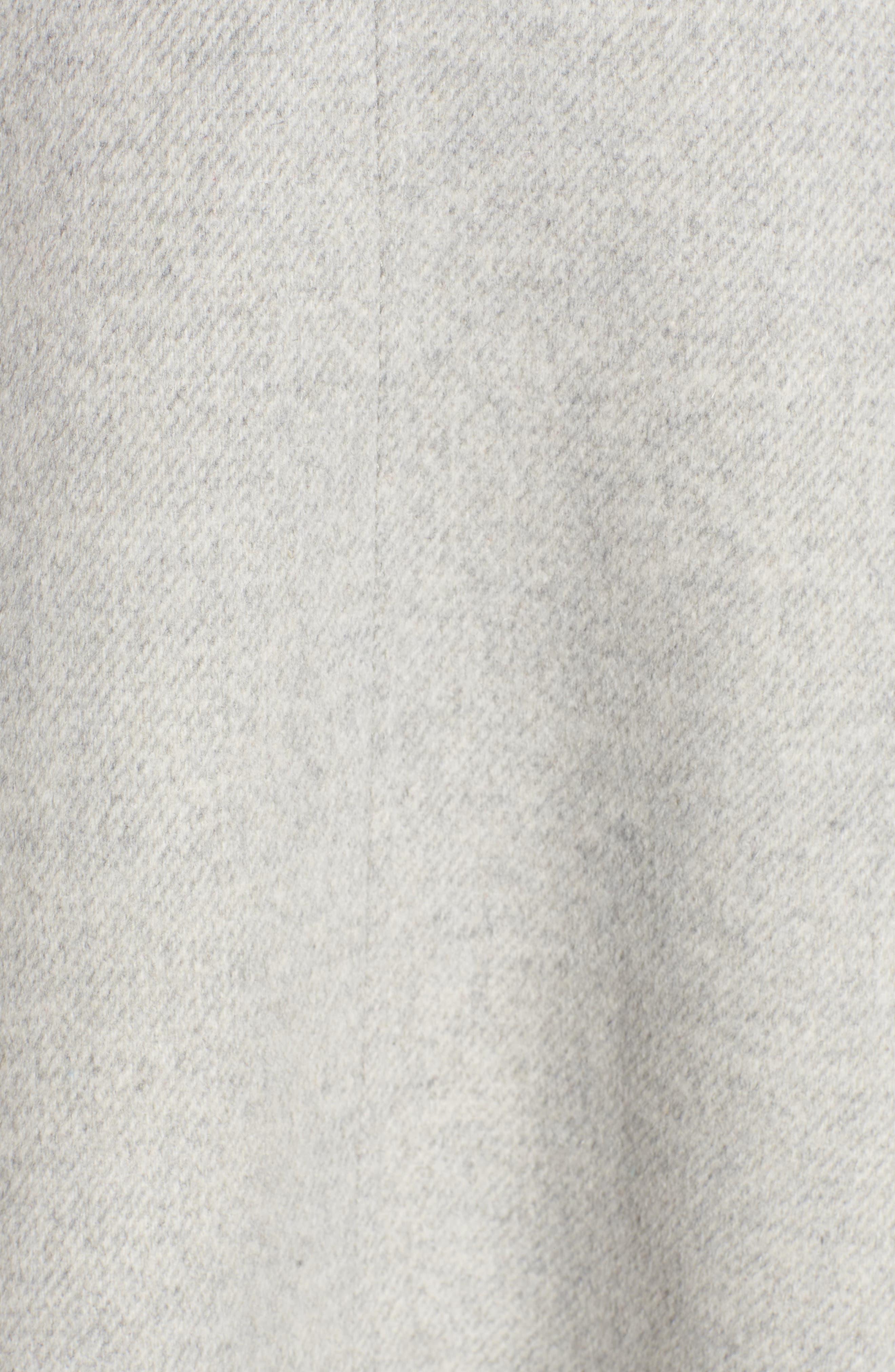 KRISTEN BLAKE,                             Genuine Fox Trim Hooded Wool Coat,                             Alternate thumbnail 7, color,                             GREY MELANGE