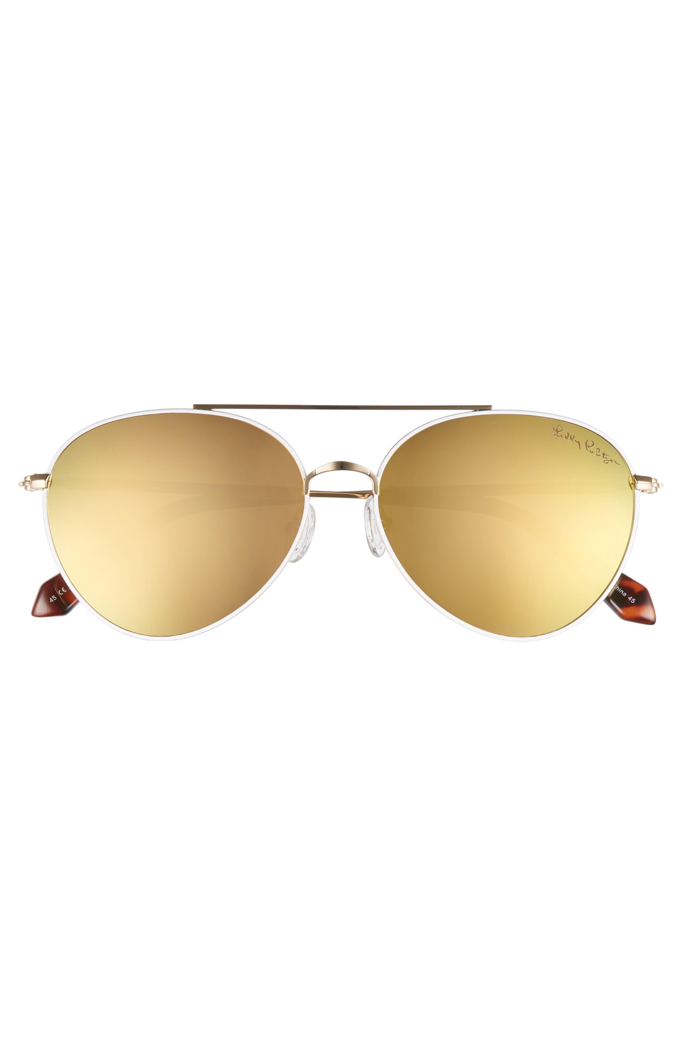 Isabelle 56mm Polarized Metal Aviator Sunglasses,                             Alternate thumbnail 3, color,                             GOLD/ GOLD