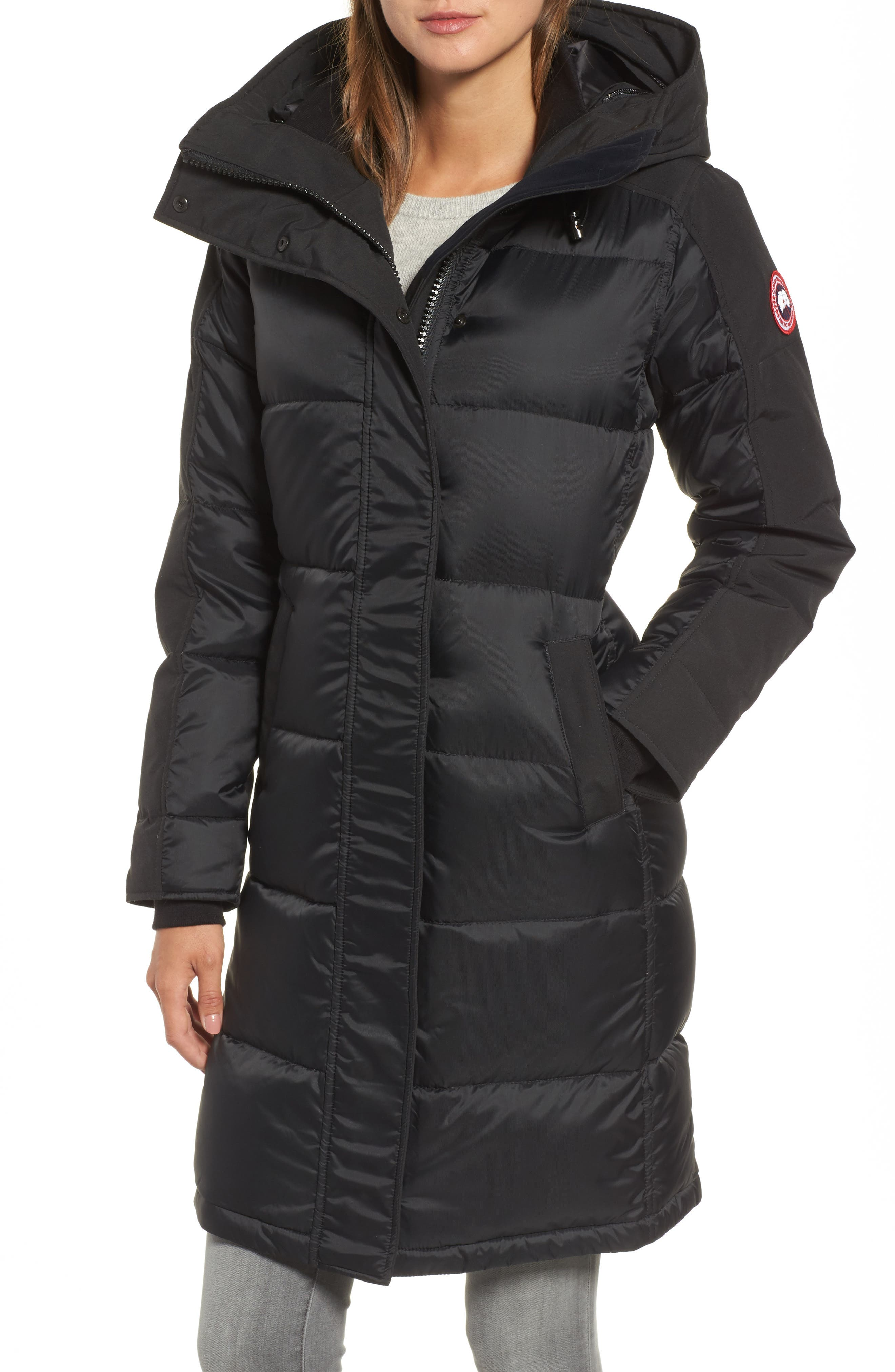 Rowley Down Parka with Genuine Fur Collar,                             Alternate thumbnail 4, color,                             001