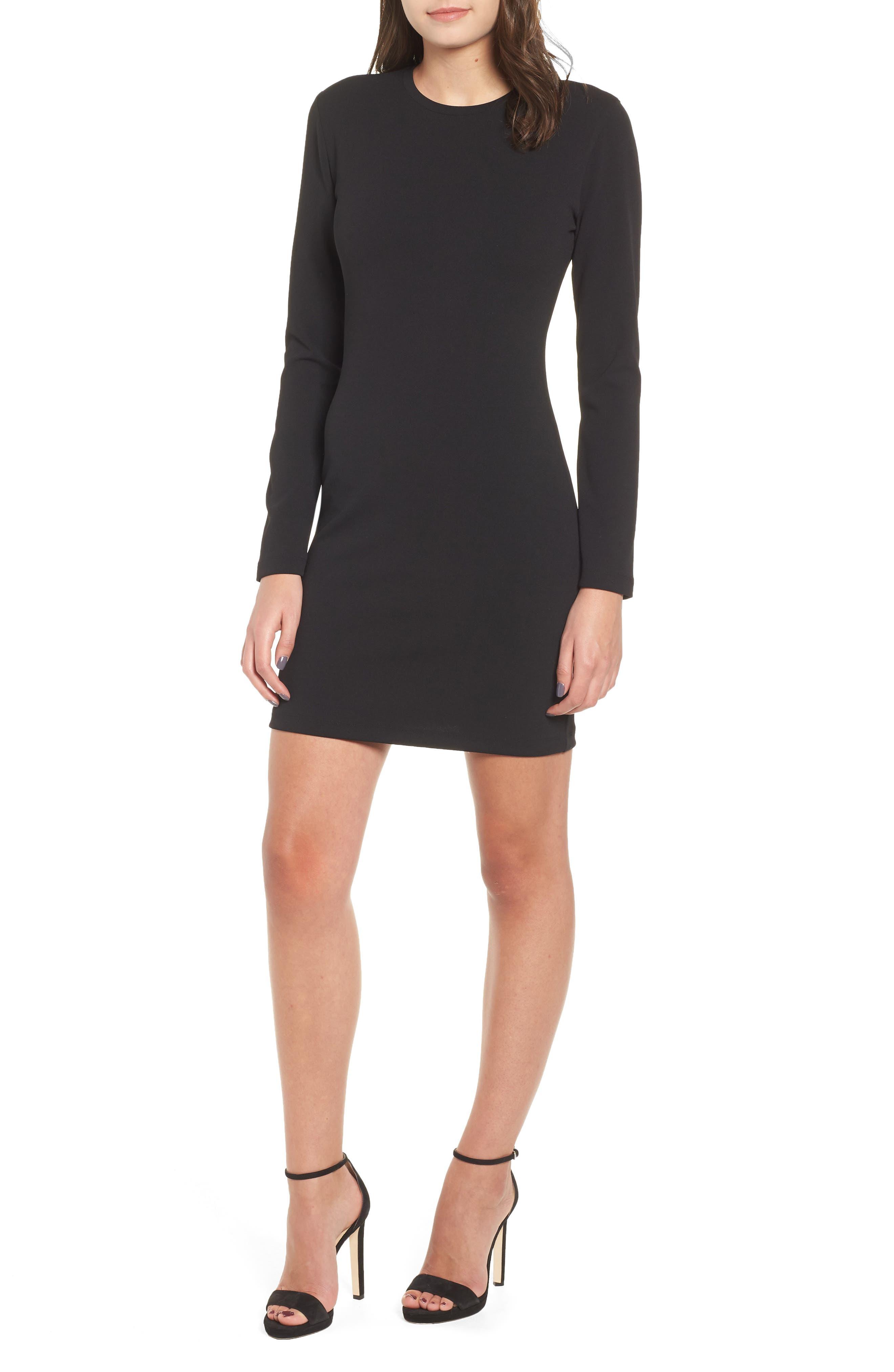 Long Sleeve Body-Con Dress,                         Main,                         color, 001